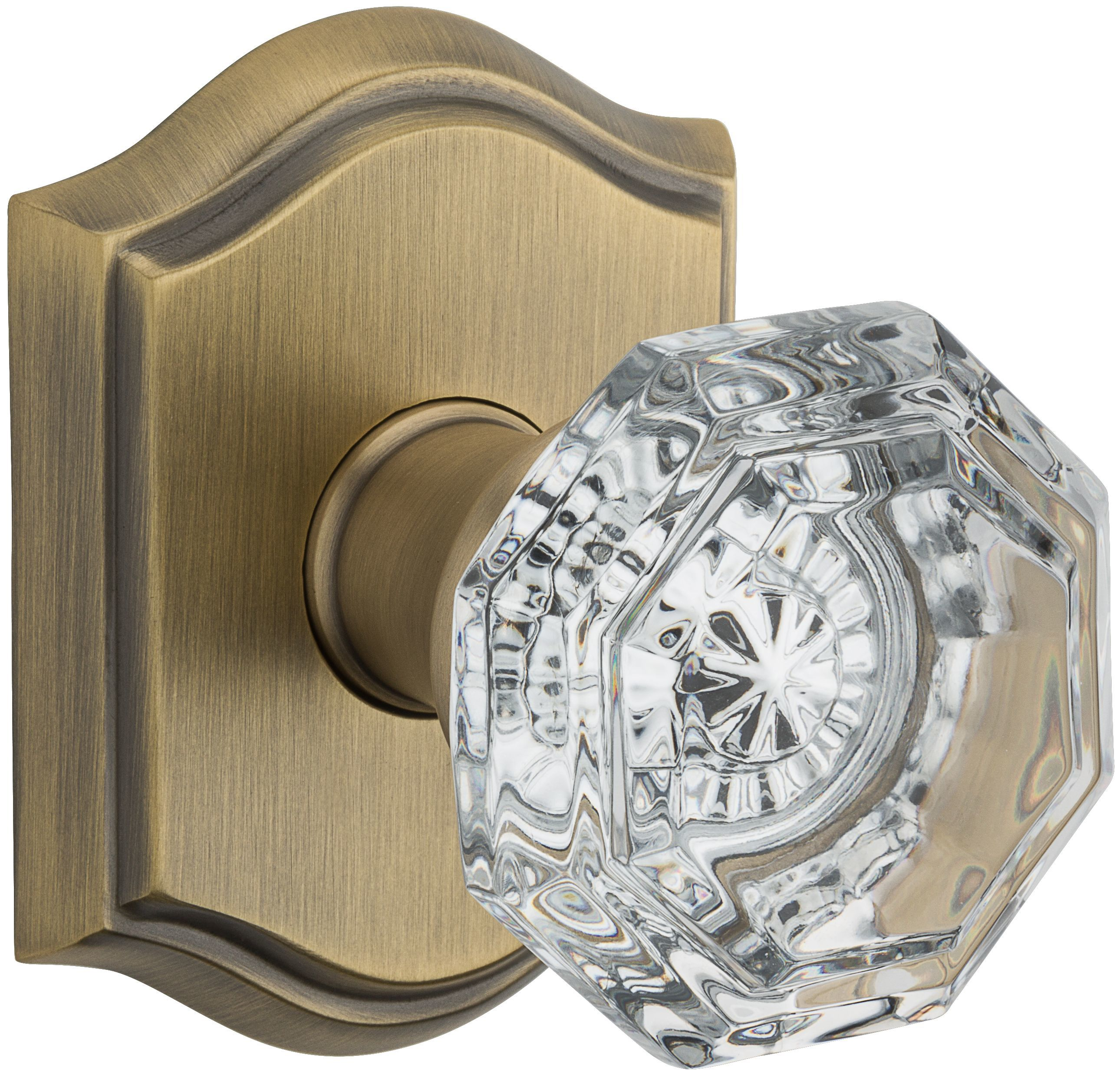 Baldwin PVCRYTAR049 Matte Brass U0026 Black Crystal Privacy Door Knob Set With  Traditional Arch Trim From The Reserve Collection   Handlesets.com