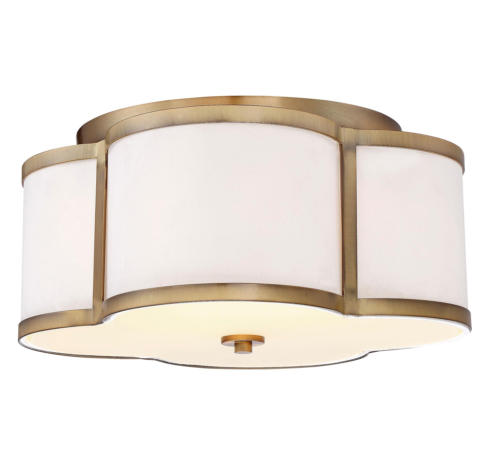 Bellevue Sh60020nb Natural Brass 3 Light 16 Wide Flush Mount Drum Ceiling Fixture Lightingdirect Com