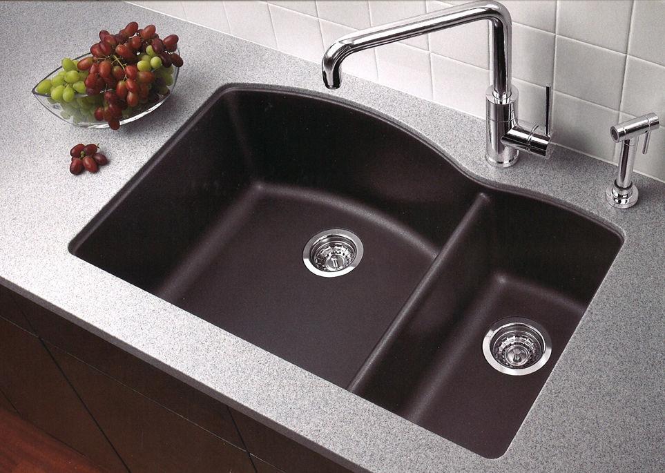 Undermount Kitchen Sink With Drainer Blanco 440179 anthracite diamond 32 double basin undermount blanco 440179 anthracite diamond 32 double basin undermount silgranit ii kitchen sink with 6040 split faucet workwithnaturefo