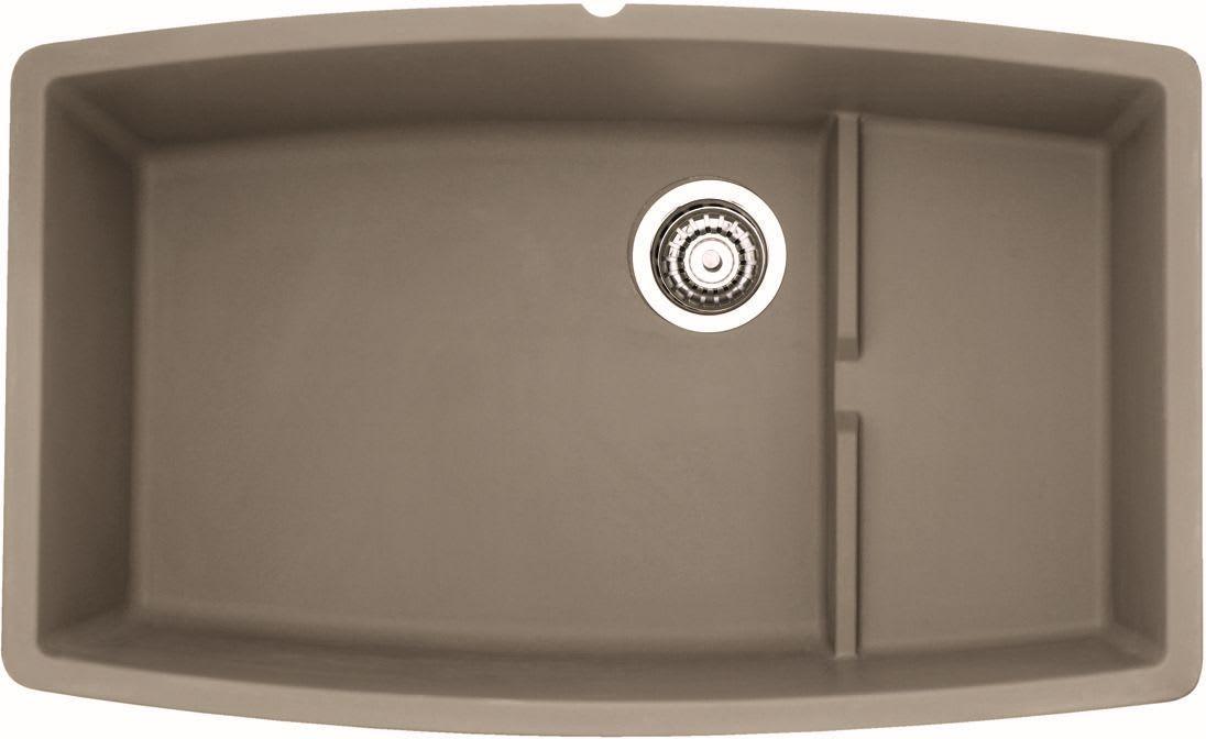 Blanco 441291 Truffle Performa 32 Cascade Silgranit Granite Composite Undermount Super Single Bowl Kitchen Sink With Raised Ledge Faucet