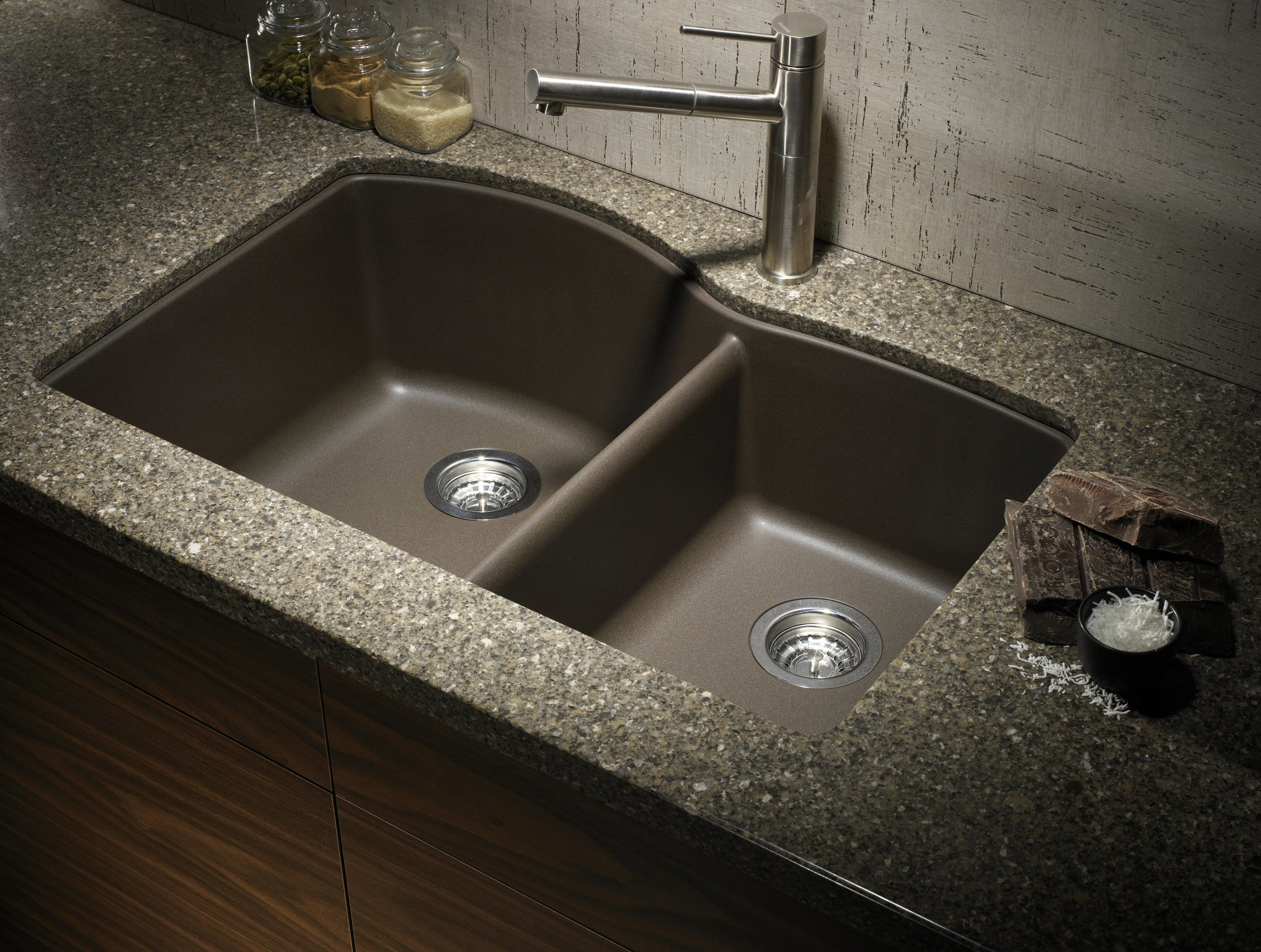 Kitchen Double Sinks Blanco 440177 cafe brown diamond 32 double basin undermount blanco 440177 cafe brown diamond 32 double basin undermount silgranit ii kitchen sink with 6040 split faucet workwithnaturefo