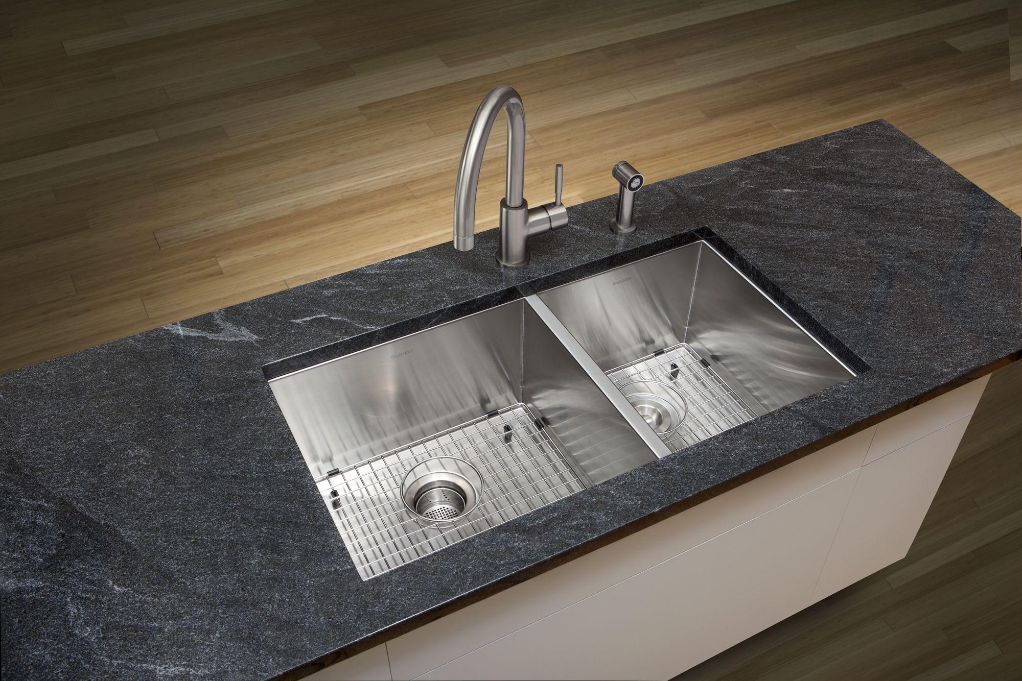 Blanco Granite Kitchen Sinks Blanco 518169 Satin Quatrus Kitchen Sink Undermount Double Basin