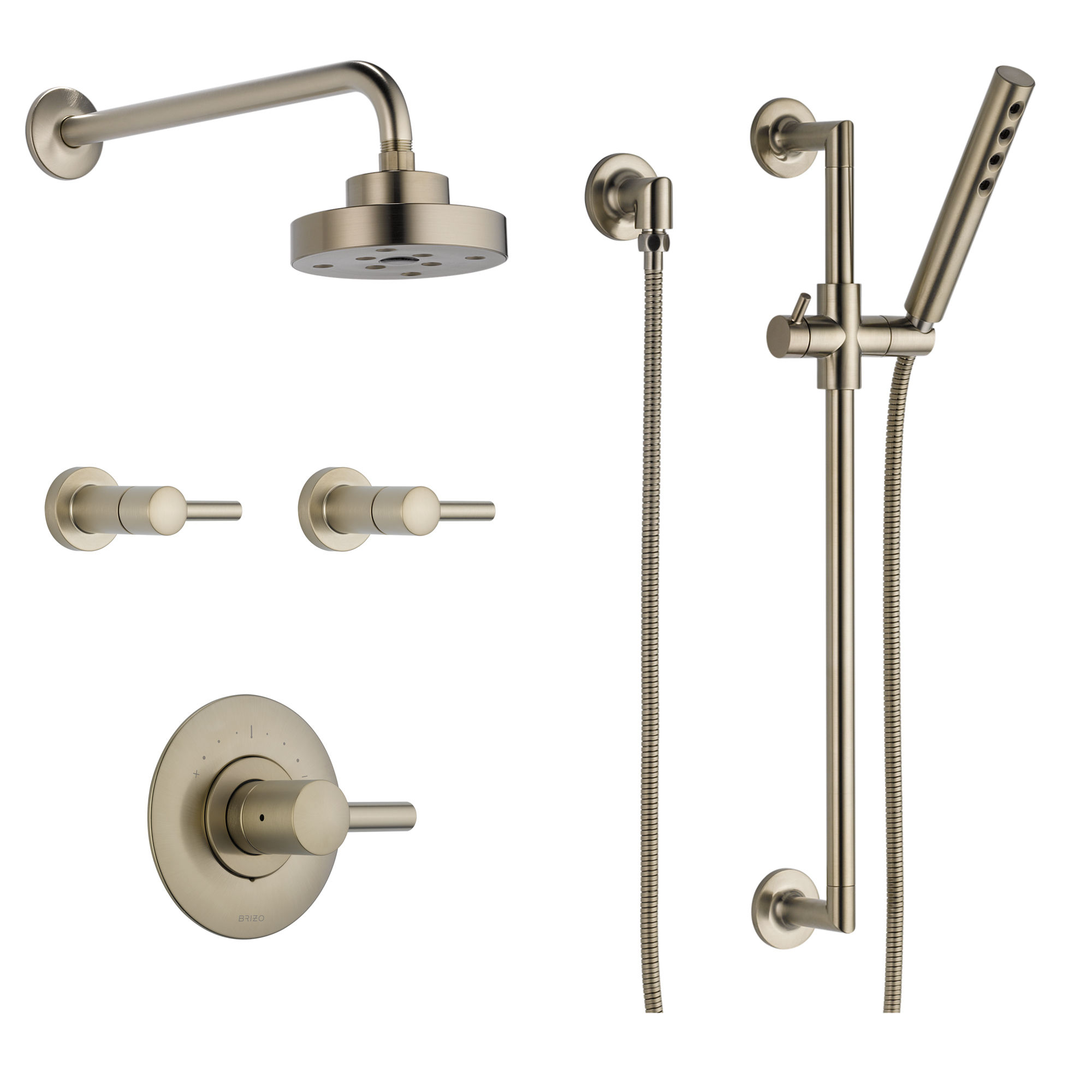 Brizo BSS-Odin-T66T02-BL Matte Black Sensori Custom Thermostatic Shower System with Showerhead, Volume Controls, and Hand Shower - Valves Included - Faucet. ...