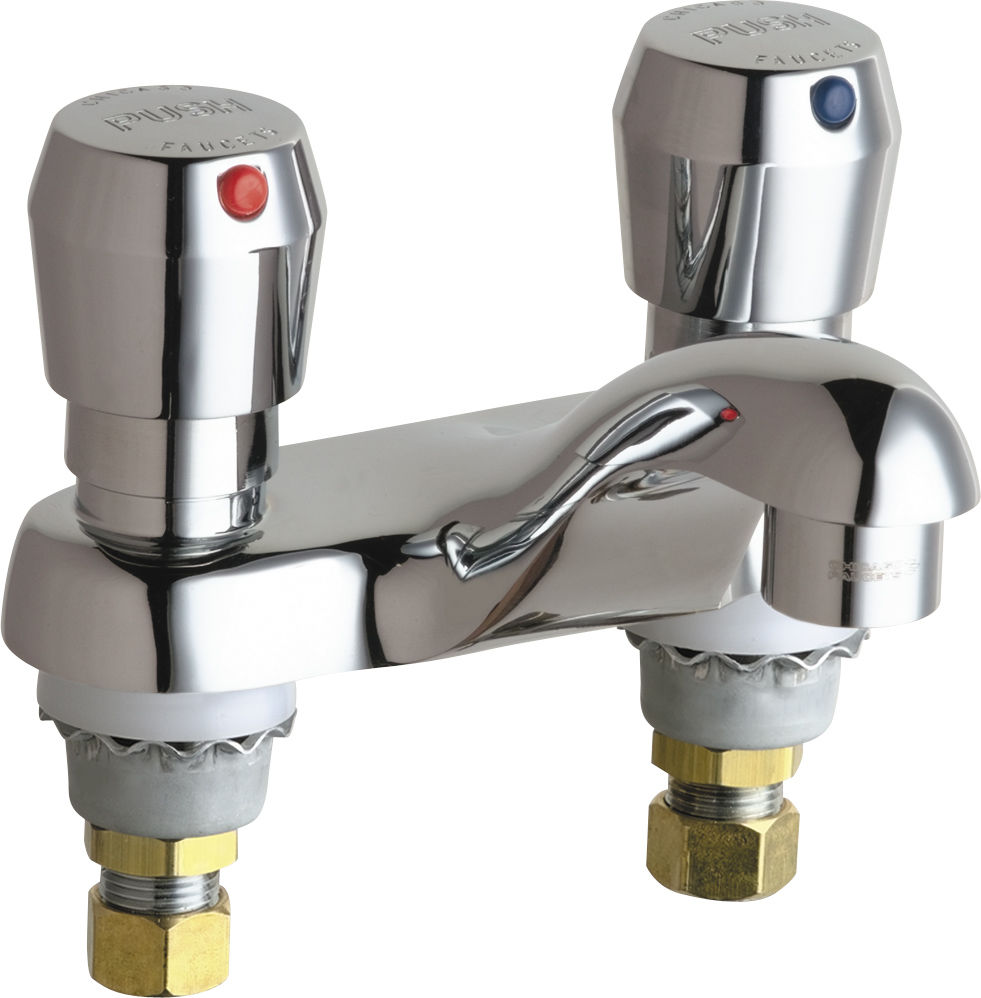 Chicago Faucets 802-V665ABCP Chrome Centerset Bathroom Faucet with 4 ...