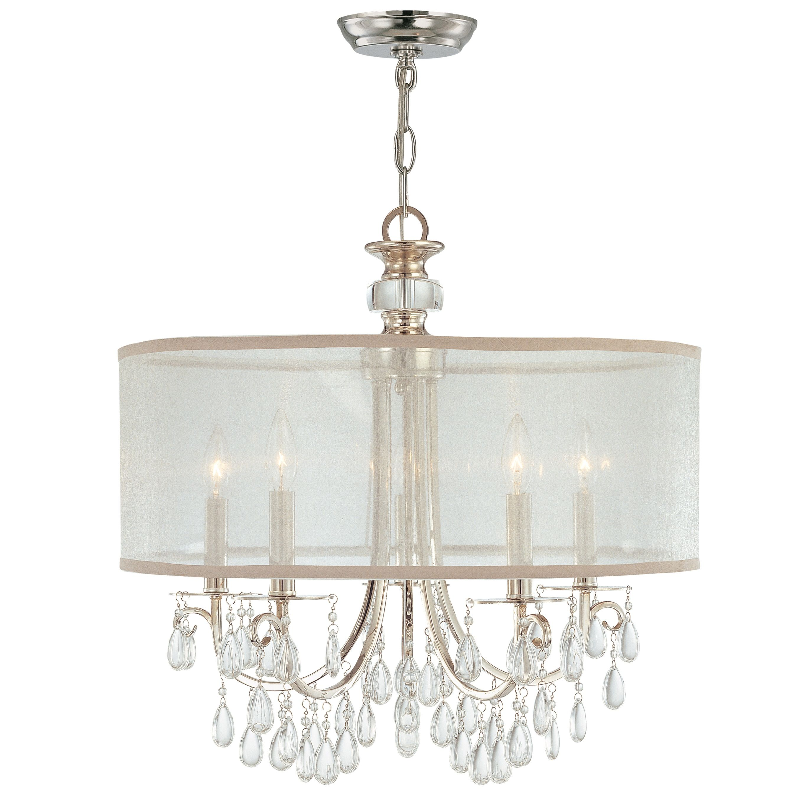Crystorama Lighting Group 5625 Ch Polished Chrome Hampton 5 Light 24 Wide Drum Chandelier With Etruscan Smooth Teardrop Almond Crystals Faucet