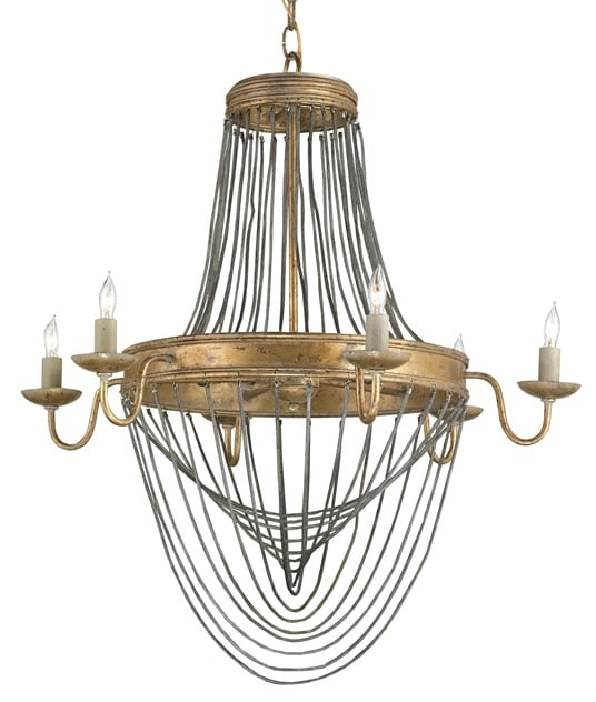 Currey And Company 9411 French Gold Leaf Lucien 6 Light 28 High 1 Tier Chandelier Lightingdirect Com