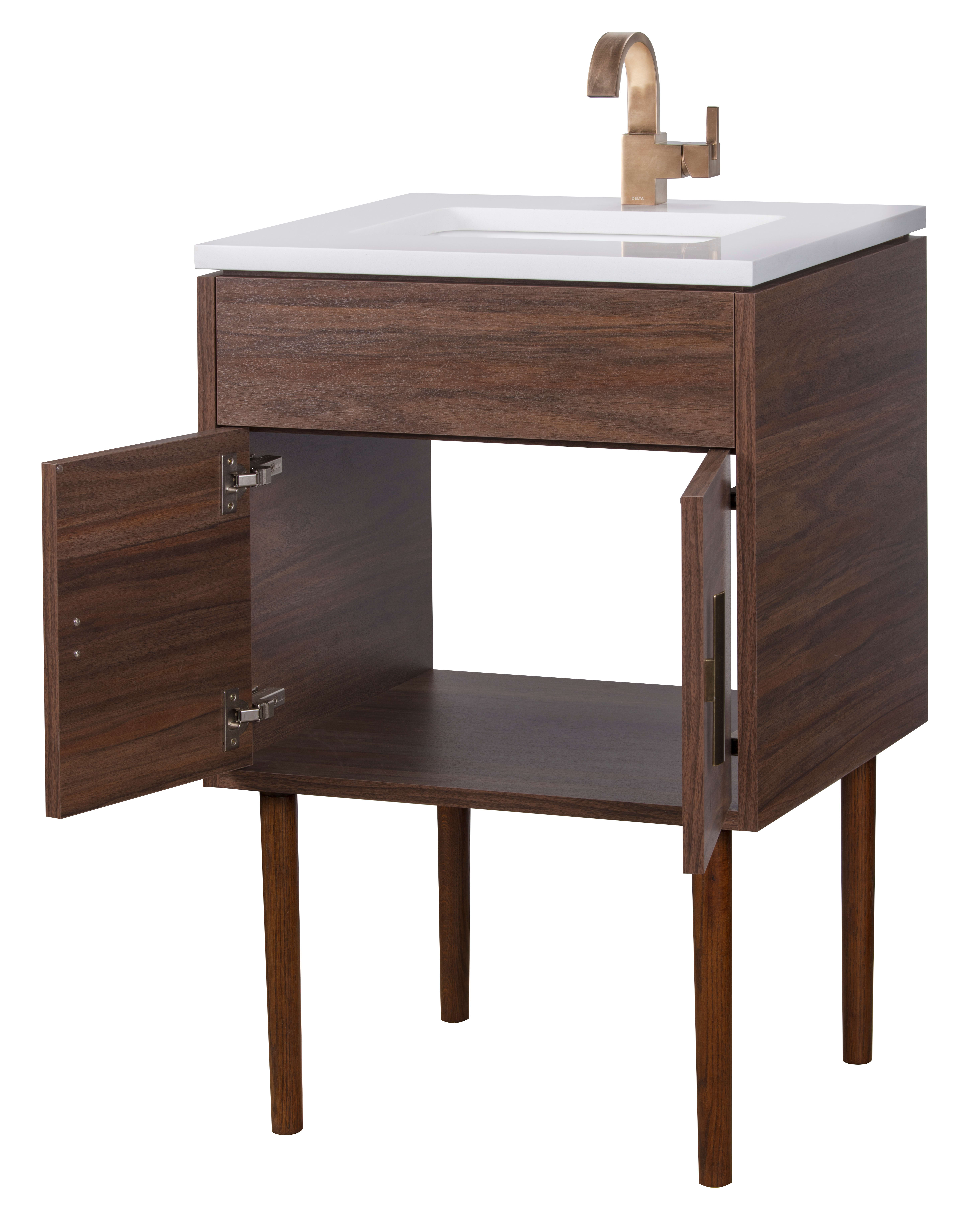Cutler Kitchen And Bath Mid Cnt 24 Brown Garland 24 Free Standing Single Vanity Set With Quartz Vanity Top Faucet Com