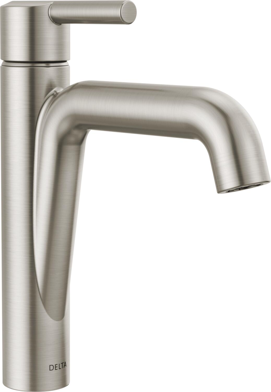 Delta 15849lf Ss Brilliance Stainless Nicoli 1 2 Gpm Single Hole Bathroom Faucet With Pop Up Drain Assembly Faucet Com