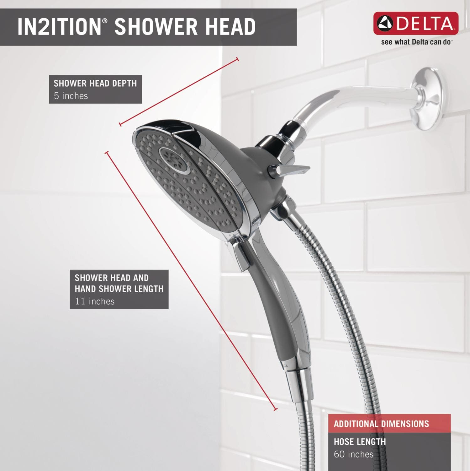 Delta 58467 SS Brilliance Stainless 2.5 GPM In2ition 2 In 1 Multi Function Shower  Head And Hand Shower   Limited Lifetime Warranty   Faucet.com