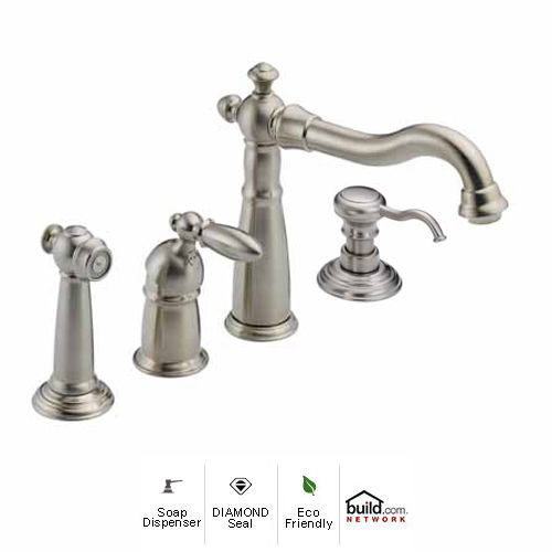 Delta 155 SS DST SD Brilliance Stainless Victorian Kitchen Faucet With Side  Spray And Soap/Lotion Dispenser   Includes Lifetime Warranty   Faucet.com