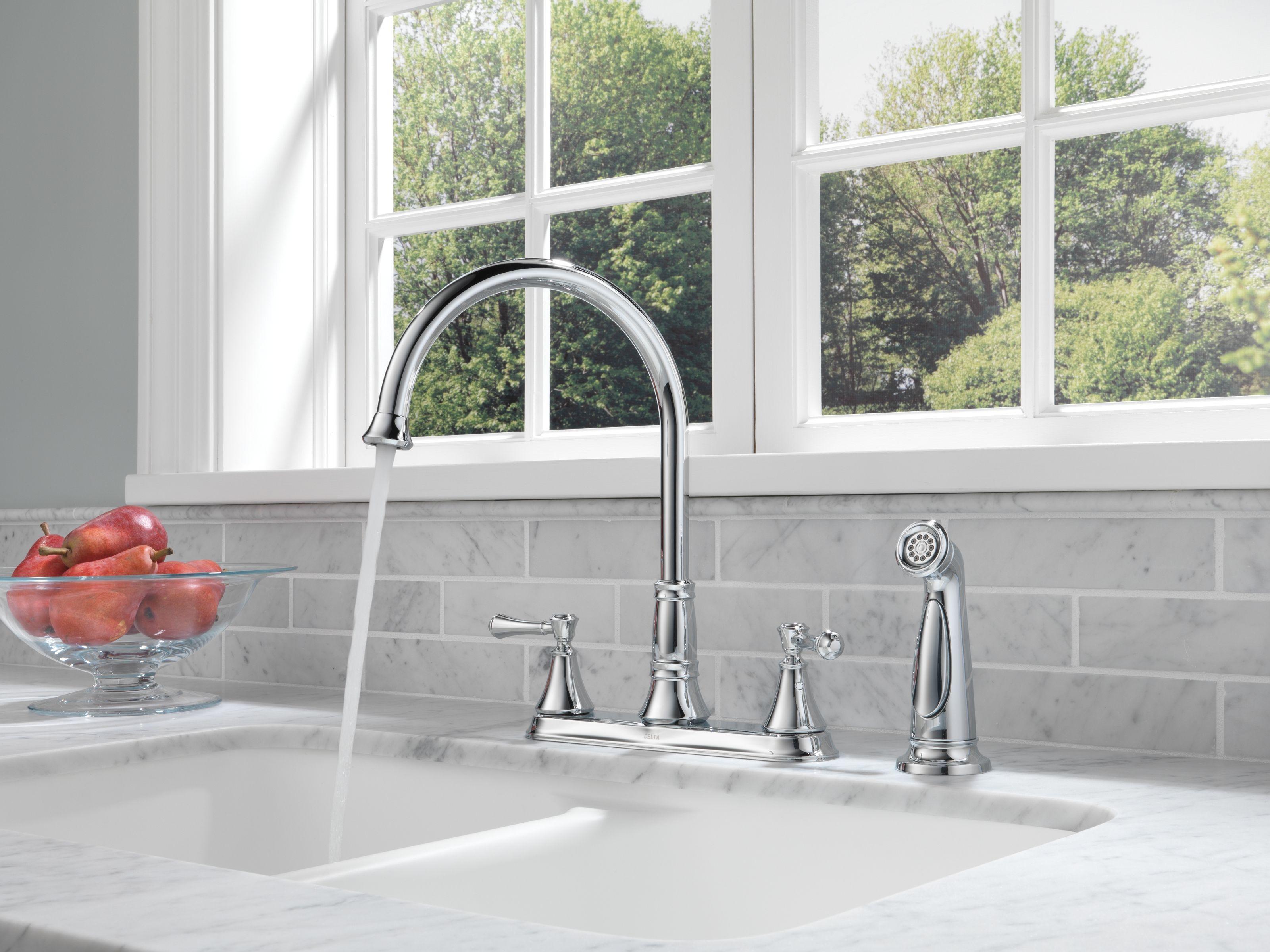 white delta backsplash bevel bronze cobsa champagne tile faucet pin kitchen cassidy