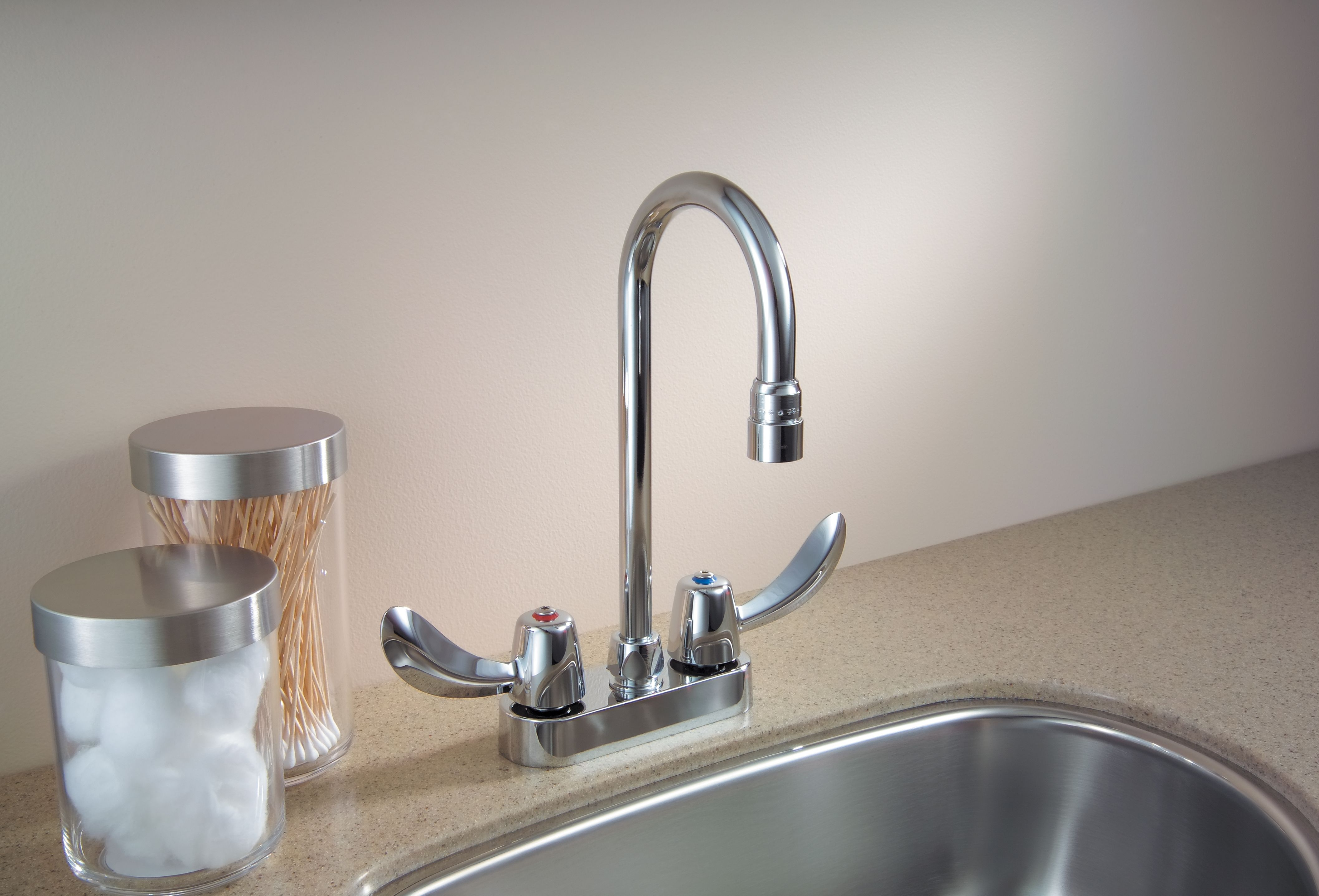 """Delta 27C4832 Chrome Double Handle 1.5GPM Ceramic Disc Bathroom Faucet with Hooded Blade Handles 10-1/2"""" Gooseneck Spout and Vandal Resistant Aerator from ..."""