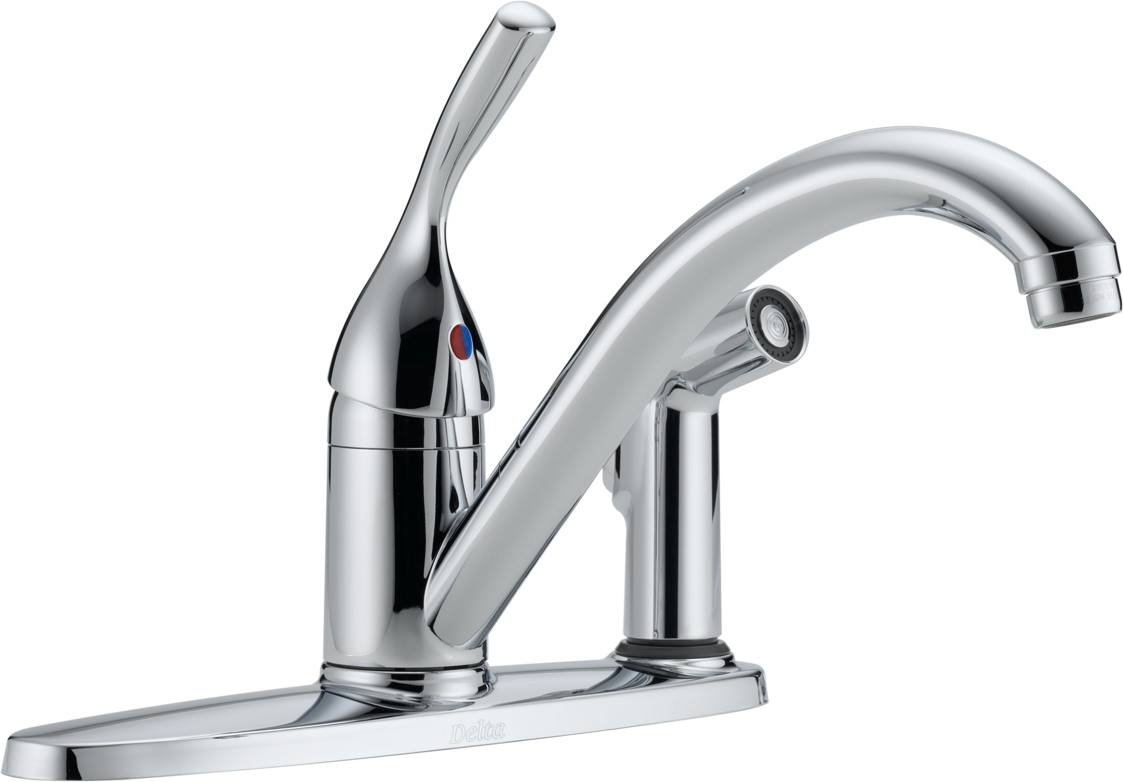 Delta 300-DST Chrome Classic Kitchen Faucet with Side Spray ...
