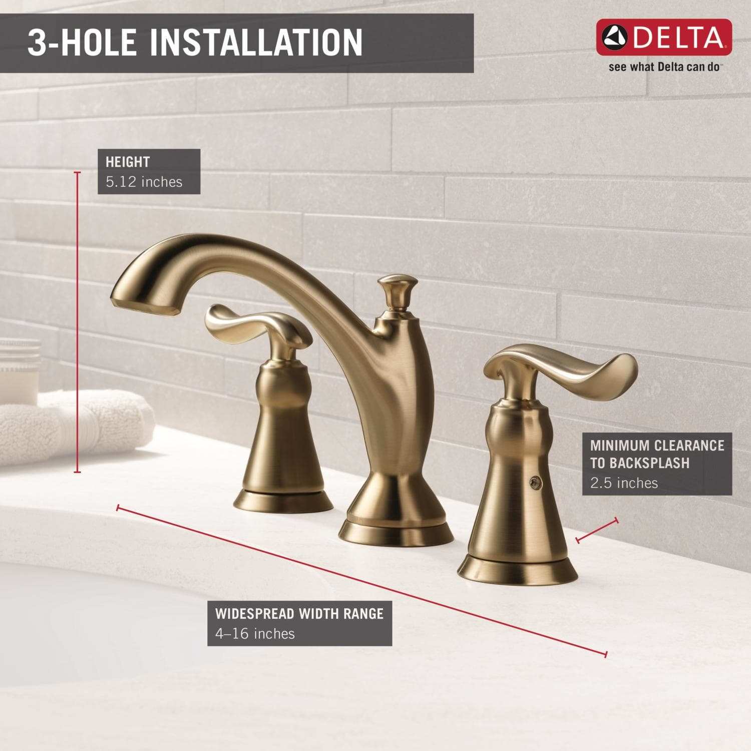Delta 3594-MPU-DST Chrome Linden Widespread Bathroom Faucet with Pop ...