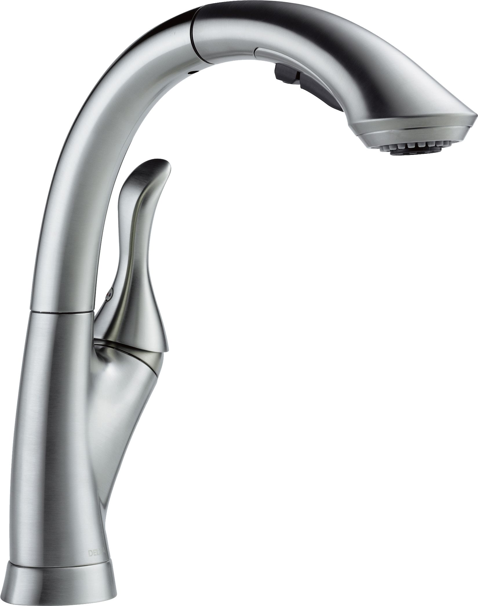 delta 4153 ar dst arctic stainless linden pull out kitchen faucet with temporary flow increase and optional base plate includes lifetime warranty - Pull Out Kitchen Faucet
