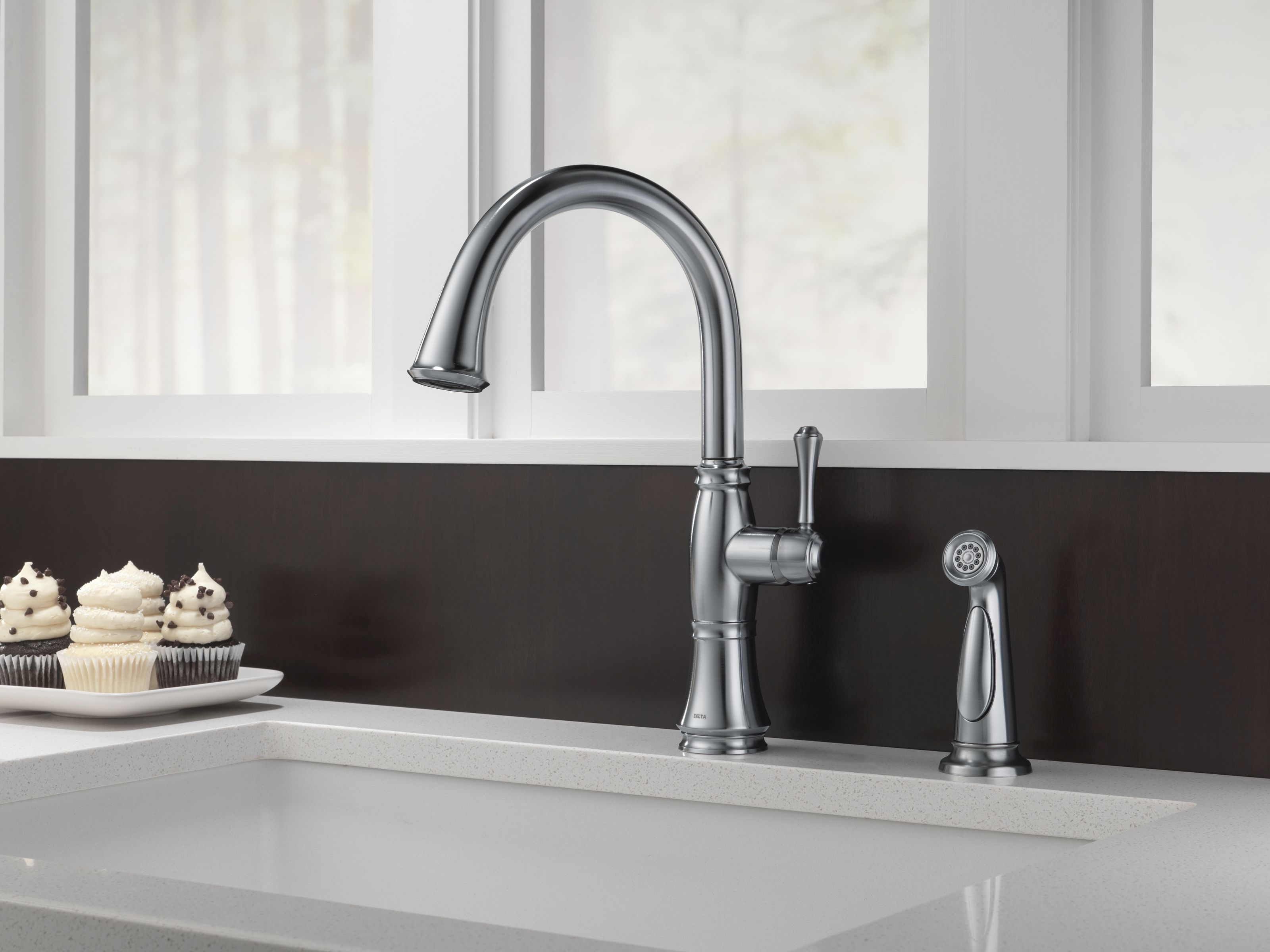 Delta 4297-CZ-DST Champagne Bronze Cassidy Kitchen Faucet with Side ...