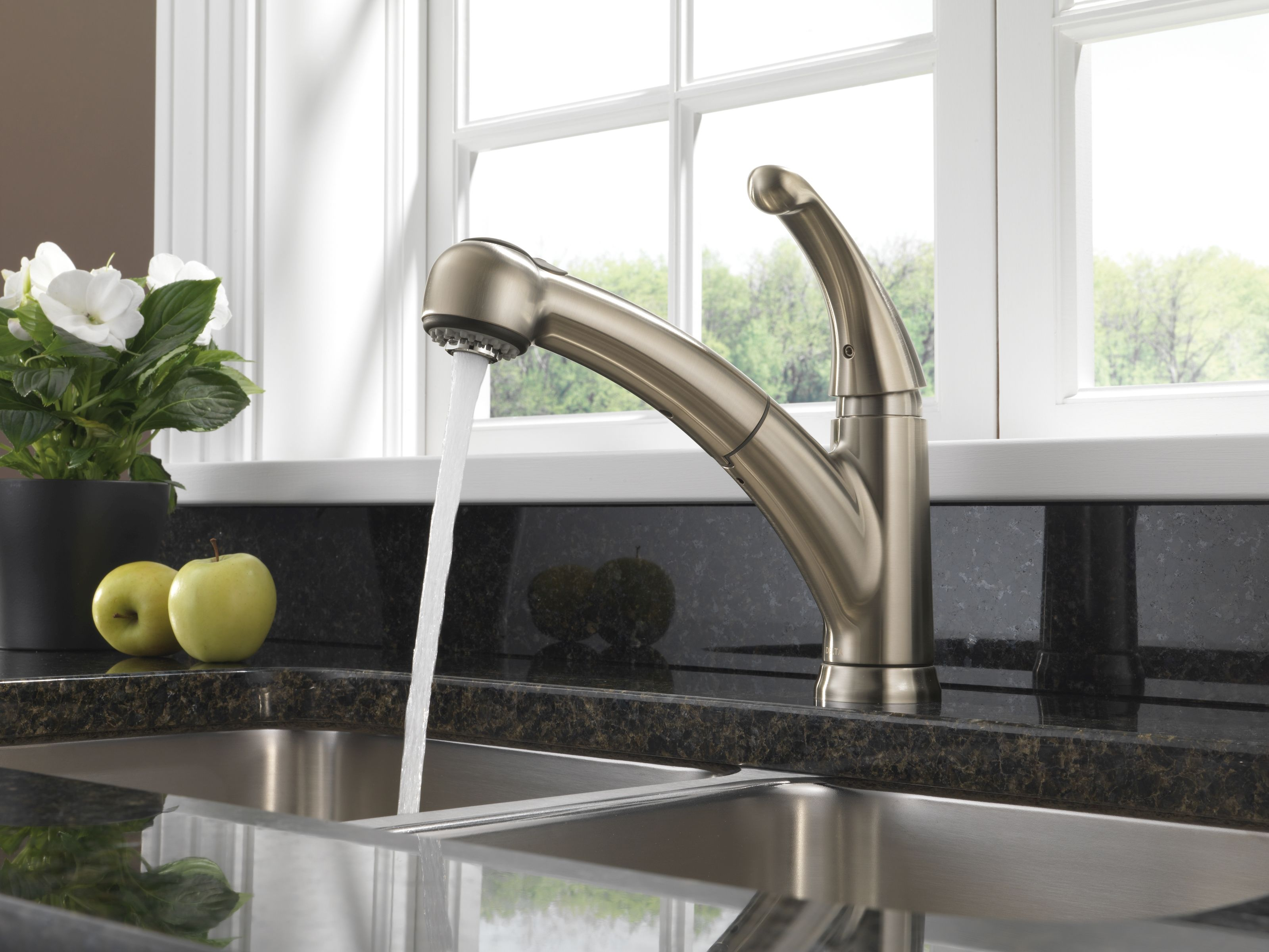 Delta 467-SS-DST Brilliance Stainless Palo Pull-Out Kitchen Faucet ...