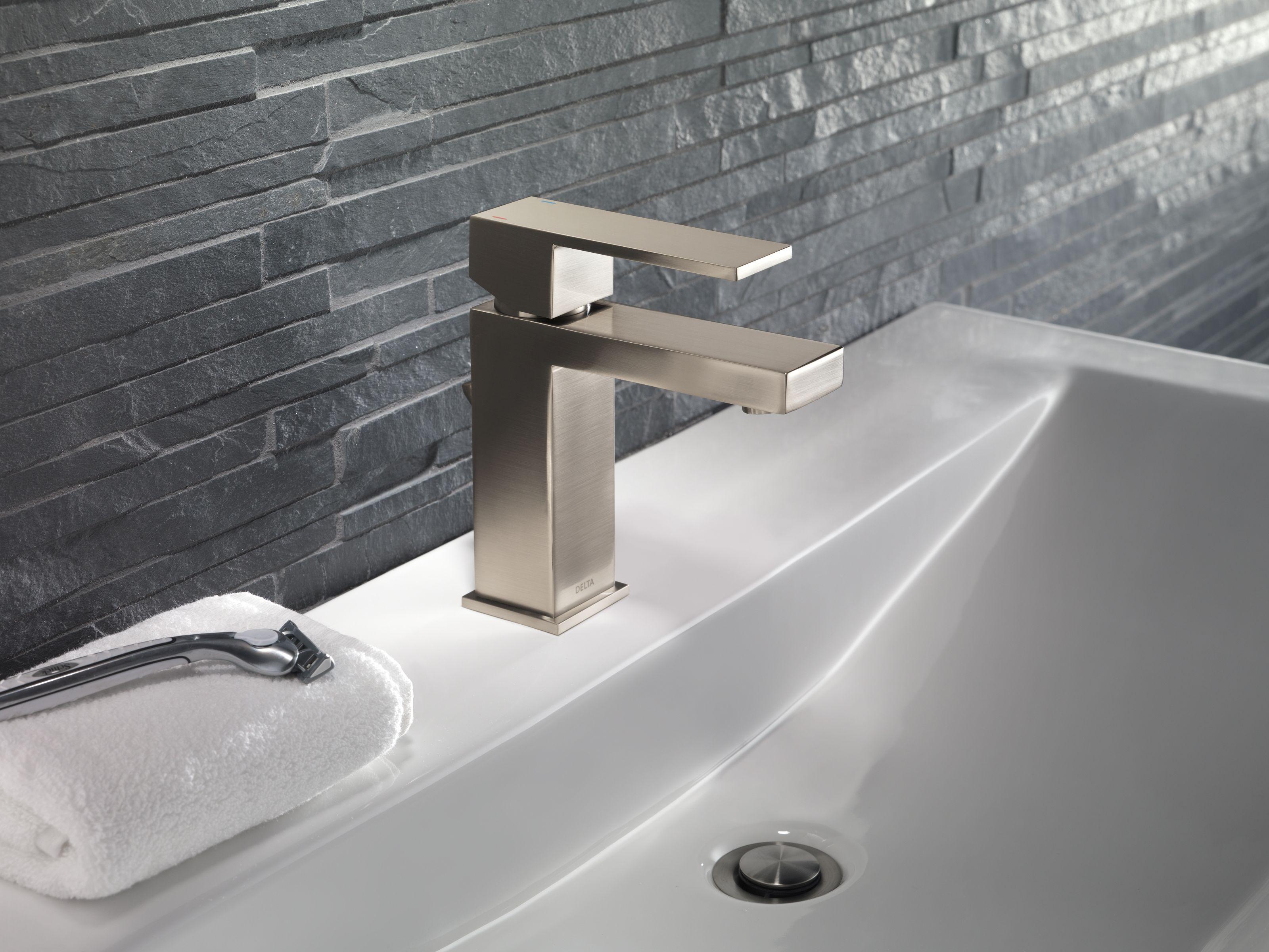 Delta 567LF-PP Chrome Angular Modern Single Hole Bathroom Faucet ...
