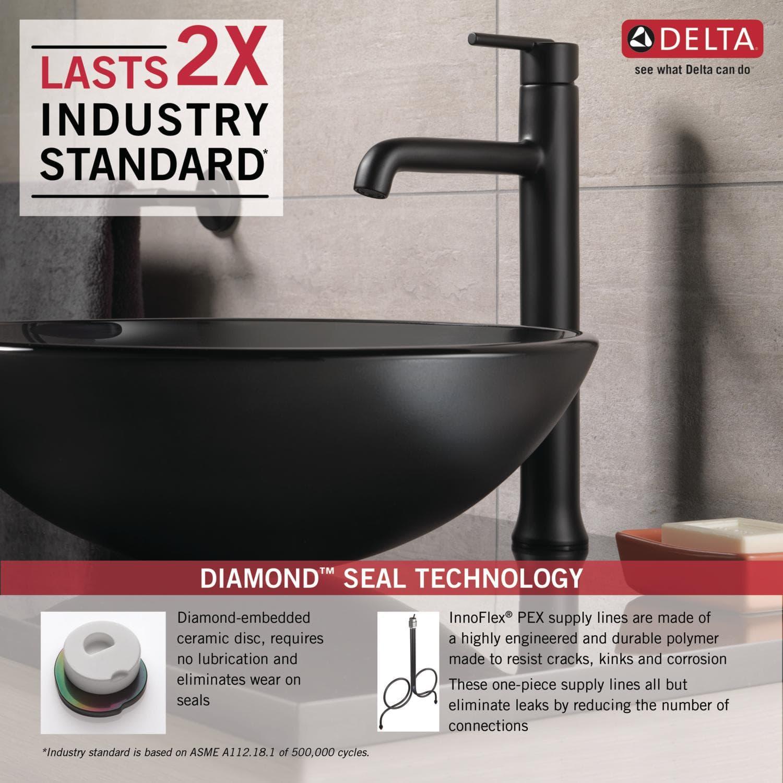 Delta 759-DST Chrome Trinsic 1.2 GPM Single Hole Vessel Bathroom ...