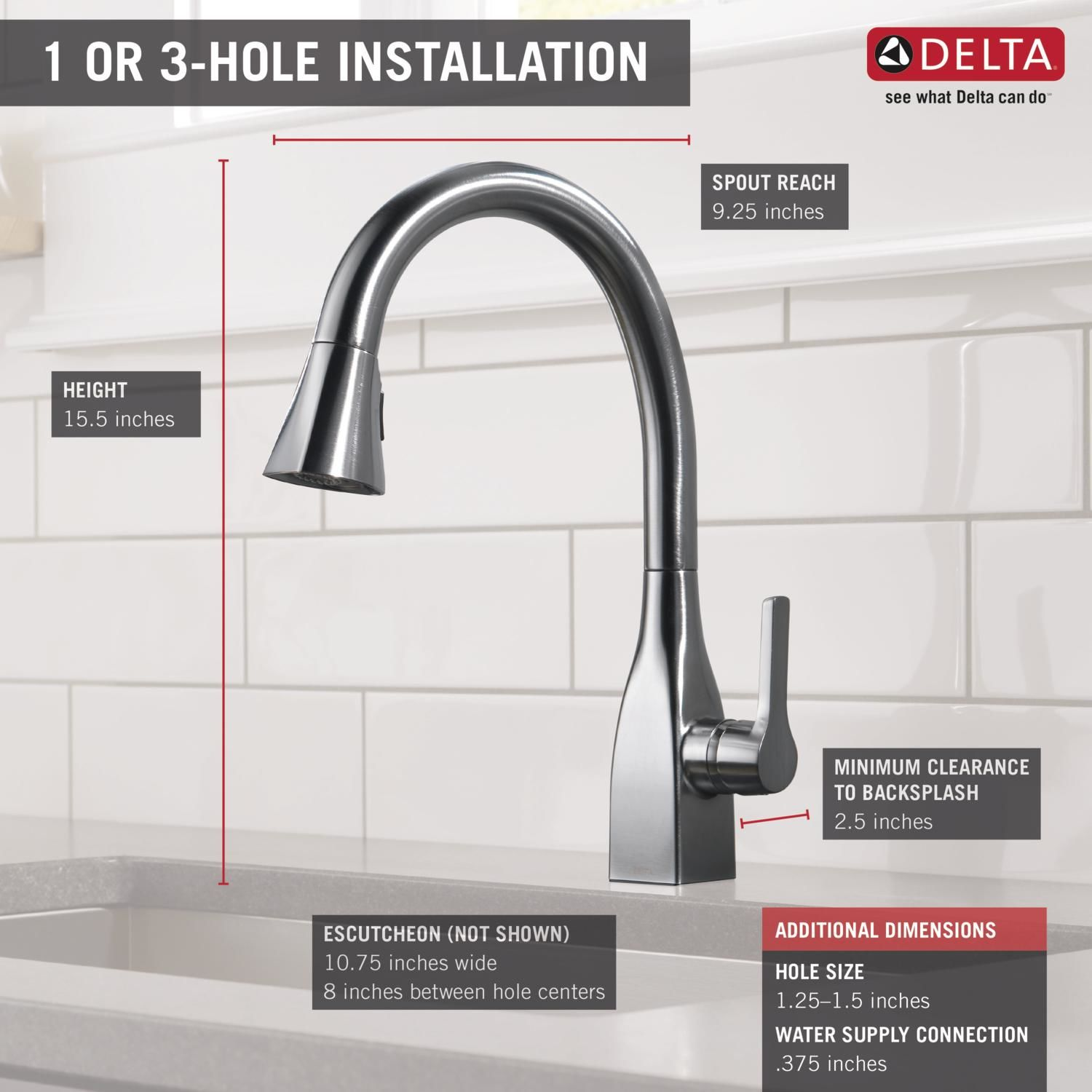Delta 9183-AR-DST Arctic Stainless Mateo Pull-Down Kitchen Faucet ...