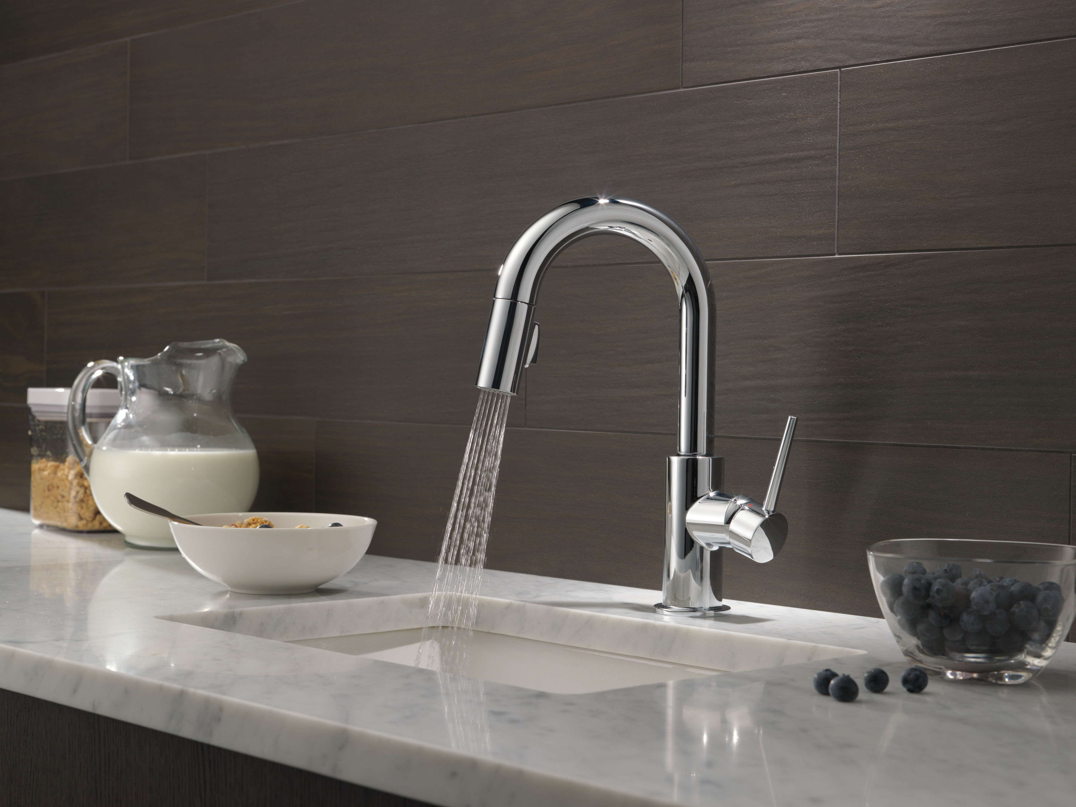 Delta 9959-BL-DST Matte Black Trinsic Pull-Down Bar/Prep Faucet with ...