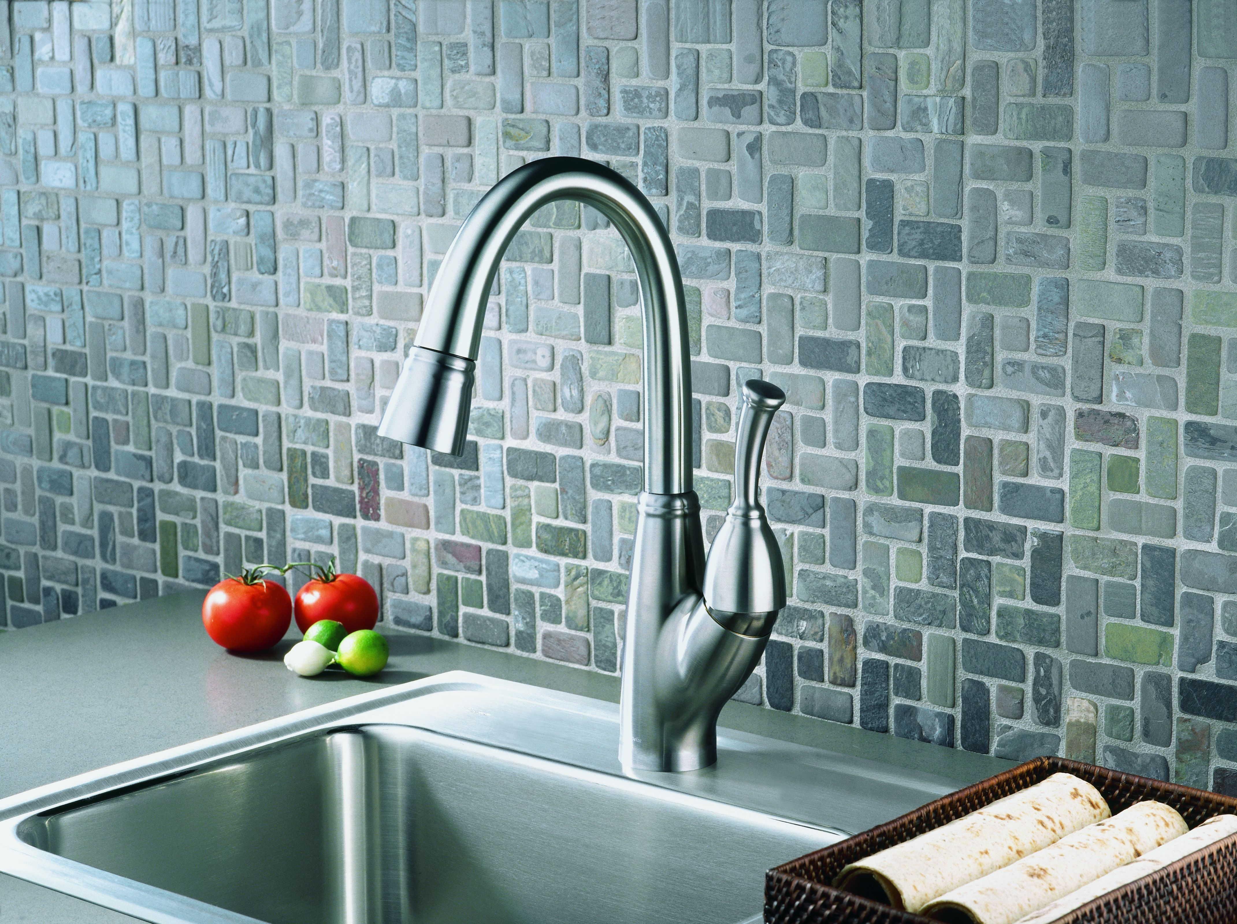 Delta 999-DST Chrome Allora Pull-Down Bar/Prep Faucet with Magnetic ...