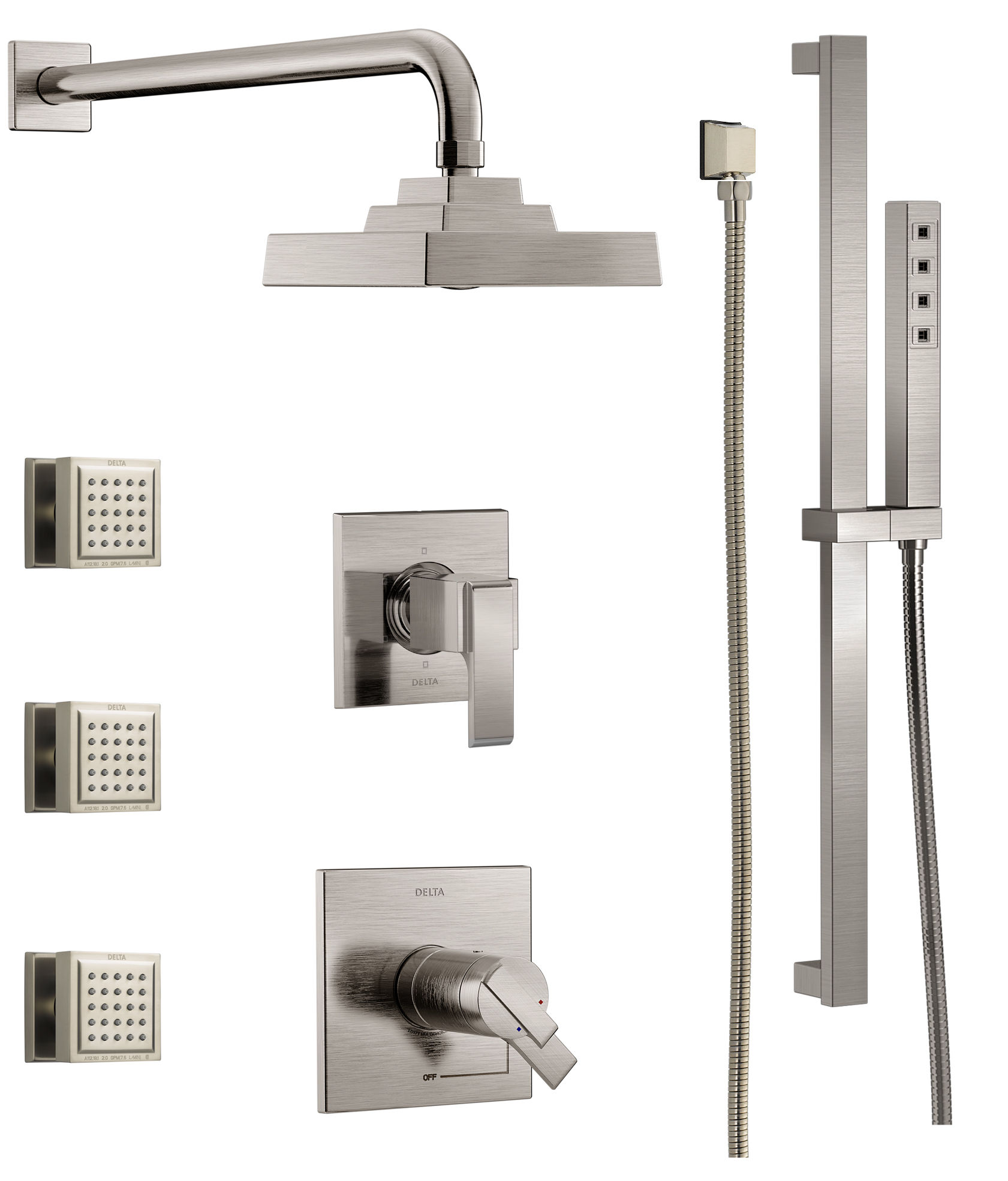 Delta DSS Ara 17T03 Chrome TempAssure 17T Series Thermostatic Shower System  With Integrated Volume Control, Shower Head, 3 Body Sprays And Hand Shower  ...