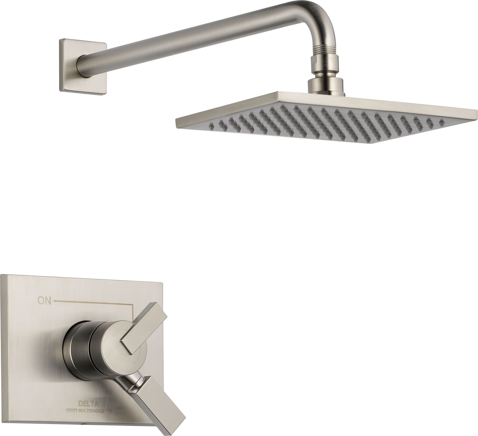 Delta T17253 Ss Brilliance Stainless Vero Monitor 17 Series Dual Shower Faucet Repair Parts Besides Diverter Valve Diagram Function Pressure Balanced Trim Package With Touch Clean Head And Integrated Volume Control Less Rough In