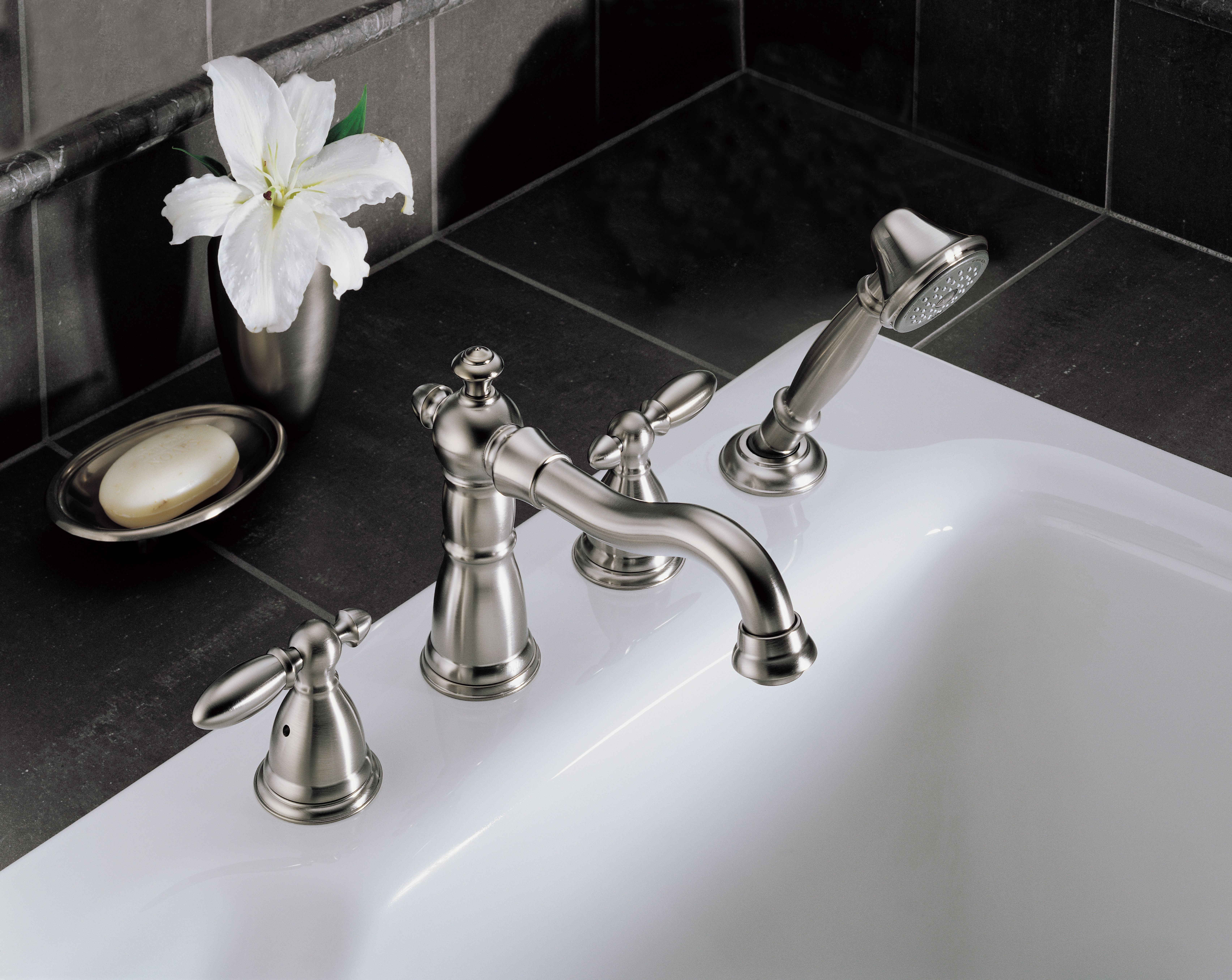 Delta T4755-PTLHP Aged Pewter Victorian Roman Tub Faucet Trim with ...