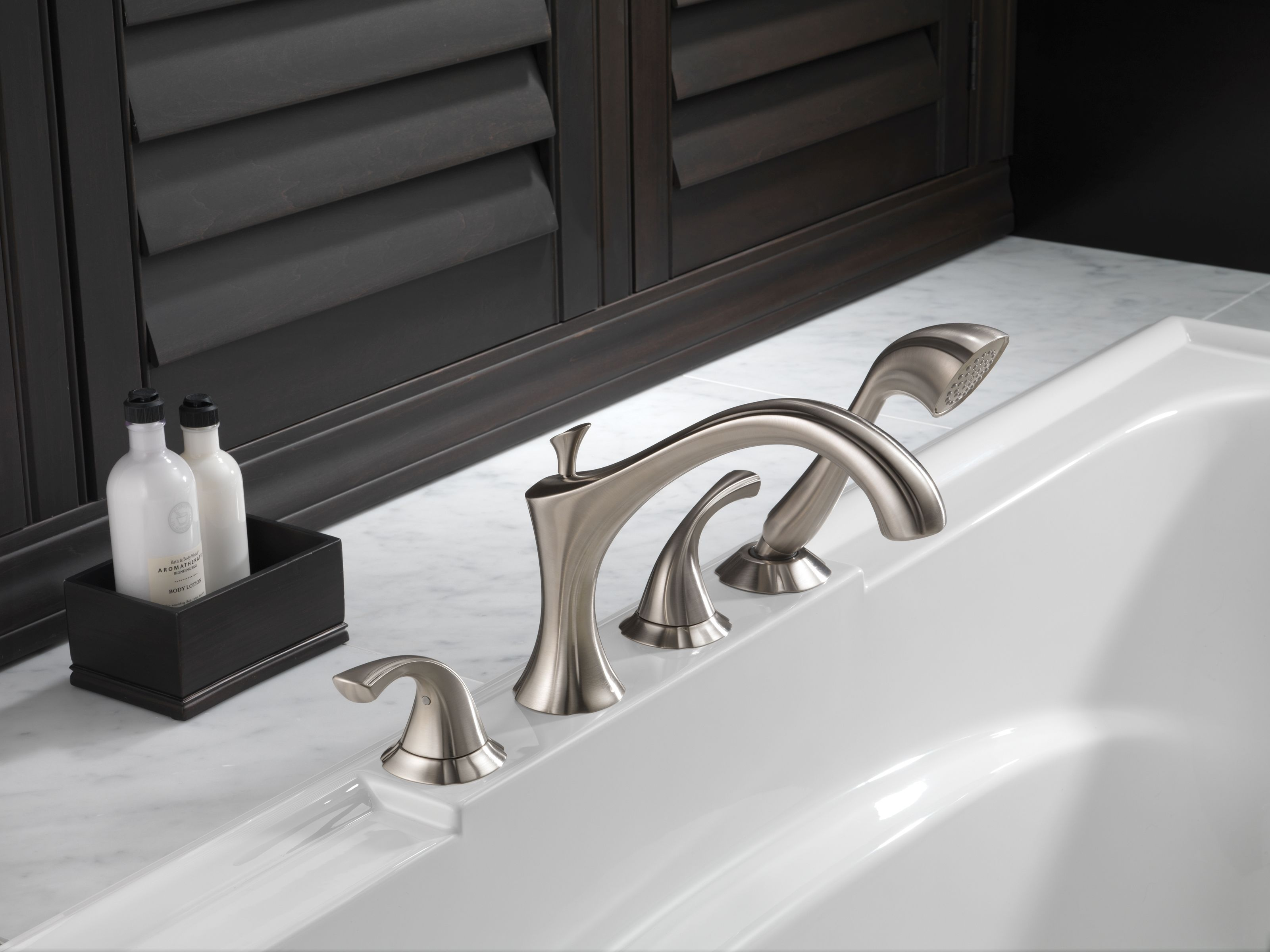 Delta T4792-SS Brilliance Stainless Addison Roman Tub Faucet Trim ...