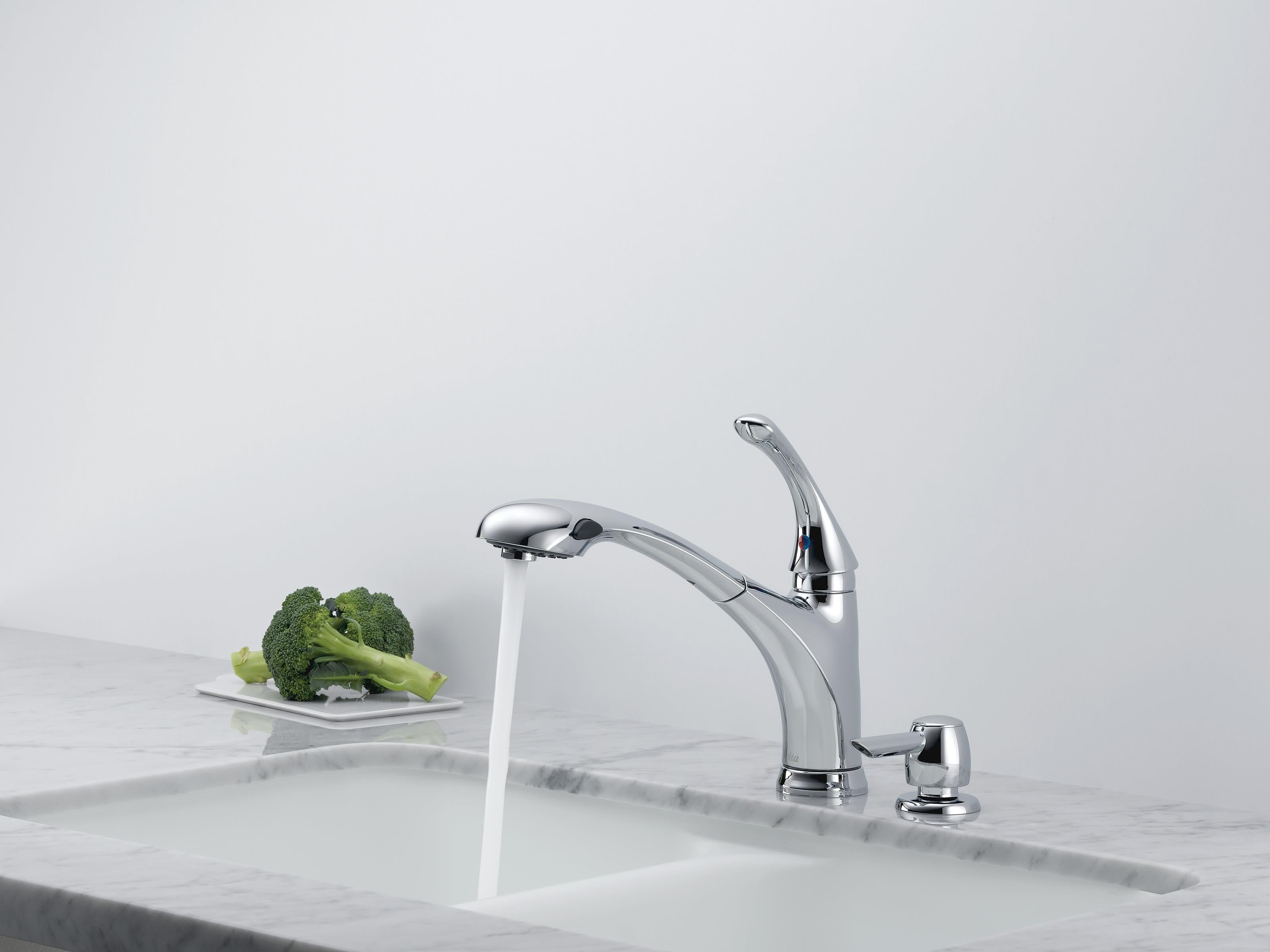 Delta 16927 Sd Dst Chrome Debonair Pullout Spray Kitchen Faucet With Diamond Seal Technology Includes Soap Dispenser Faucet Com