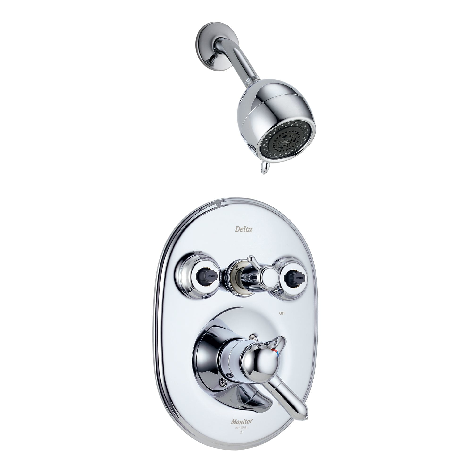 Delta T18230 Xo Chrome Double Handle Monitor 18 Shower System With Body Spray Jets And Multi Function Shower Head From The Innovations Collection Faucet Com