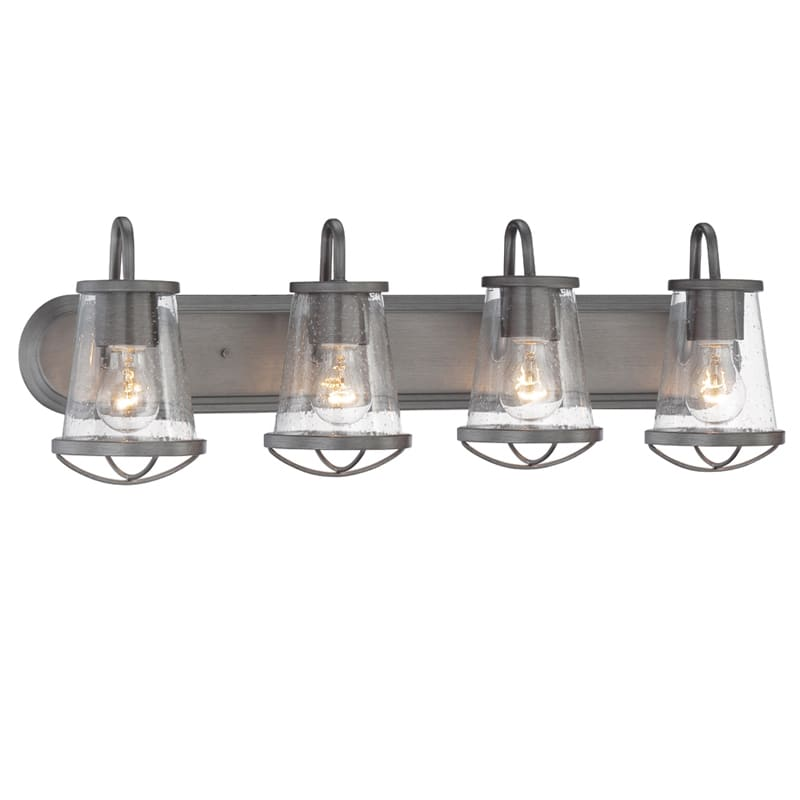 Designers Fountain 87004 Wi Weathered Iron Darby 4 Light 30 Wide Bathroom Vanity With Seedy Glass Shades Lightingdirect Com