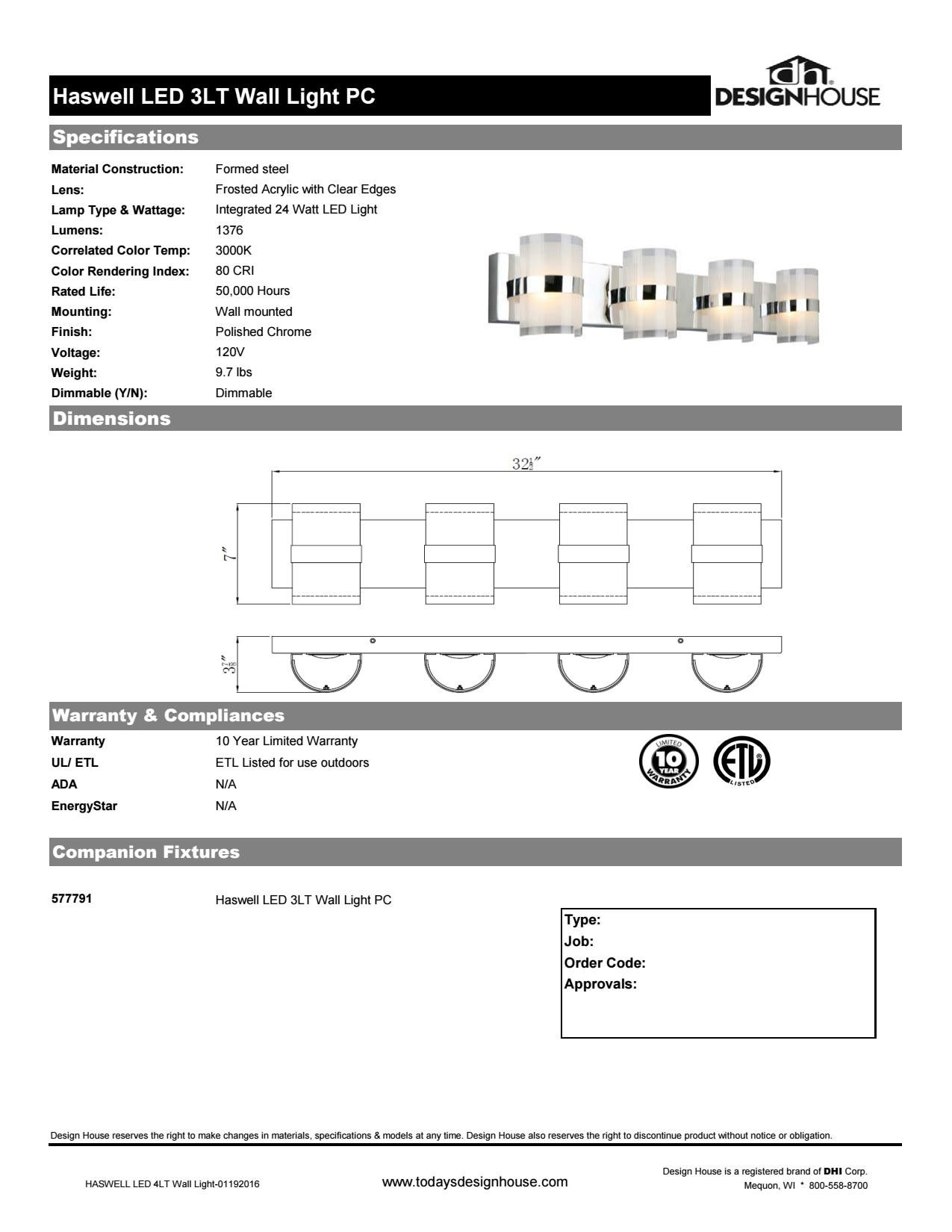 Design House 577791 Polished Chrome Haswell 4 Light 32 12 Wide