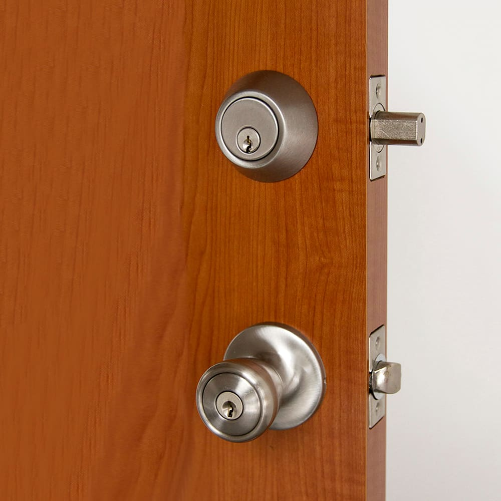 Design House 728683 Satin Nickel Terrace Reversible Keyed Entry Door Knob  And Deadbolt Set Combination With 6 Way Latch   Handlesets.com
