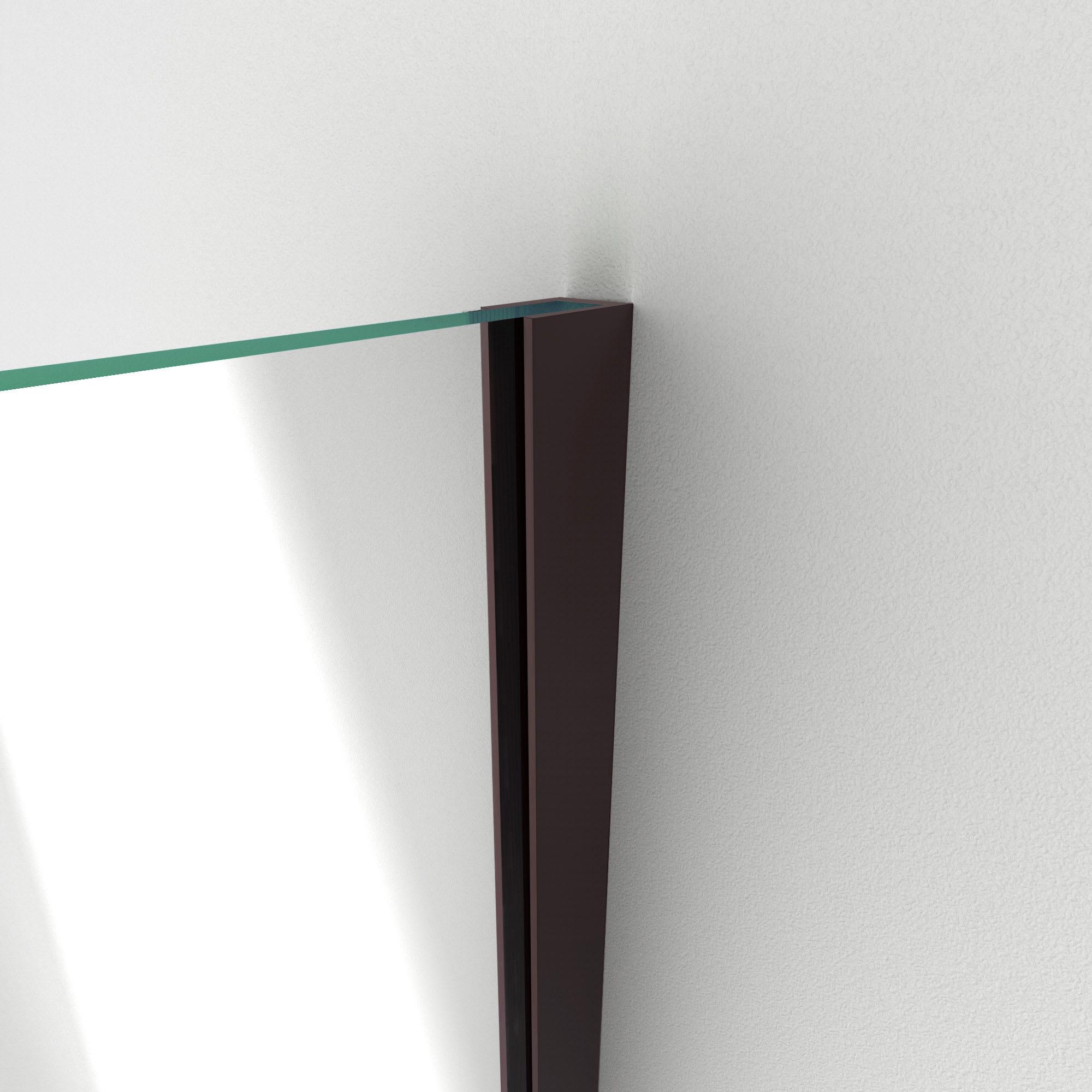W X 72 In H Frameless Hinged Shower Door In Satin Black