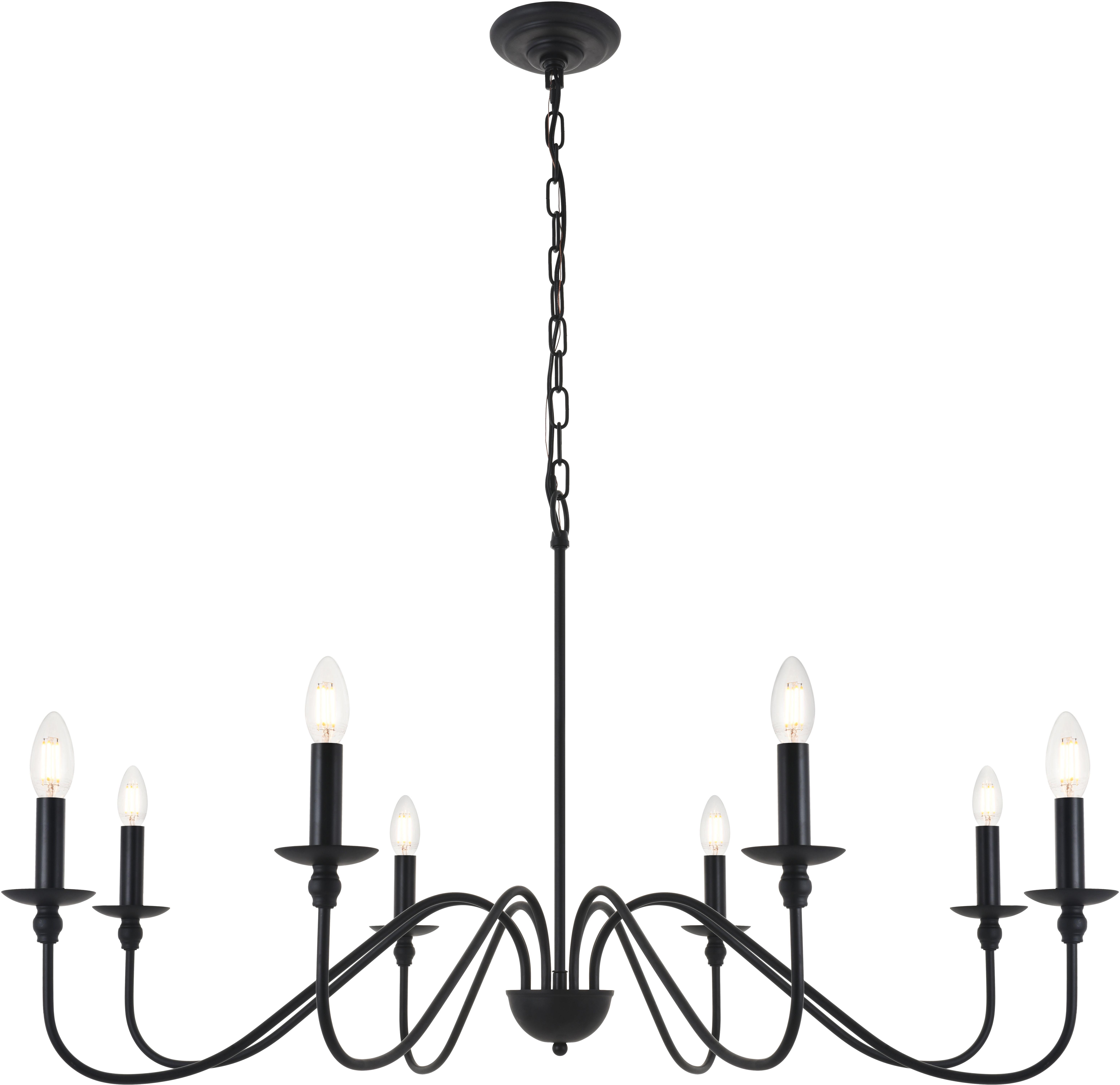 Elegant Lighting Ld5006d42mb Matte Black Rohan 8 Light 42 Wide Taper Candle Chandelier Lightingdirect Com
