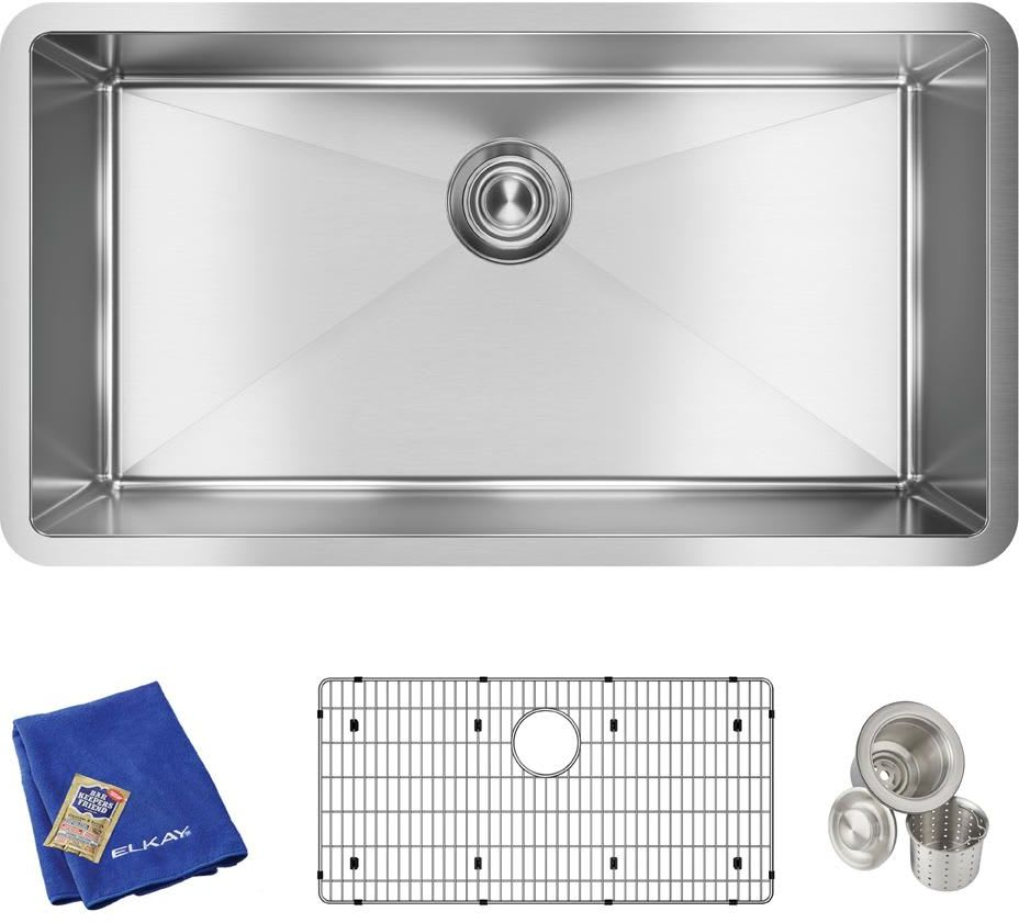 Elkay Efru311610tc Stainless Steel Crosstown 32 1 2 Undermount Single Basin Stainless Steel Kitchen Sink With Basin Rack And Basket Strainer Faucet Com