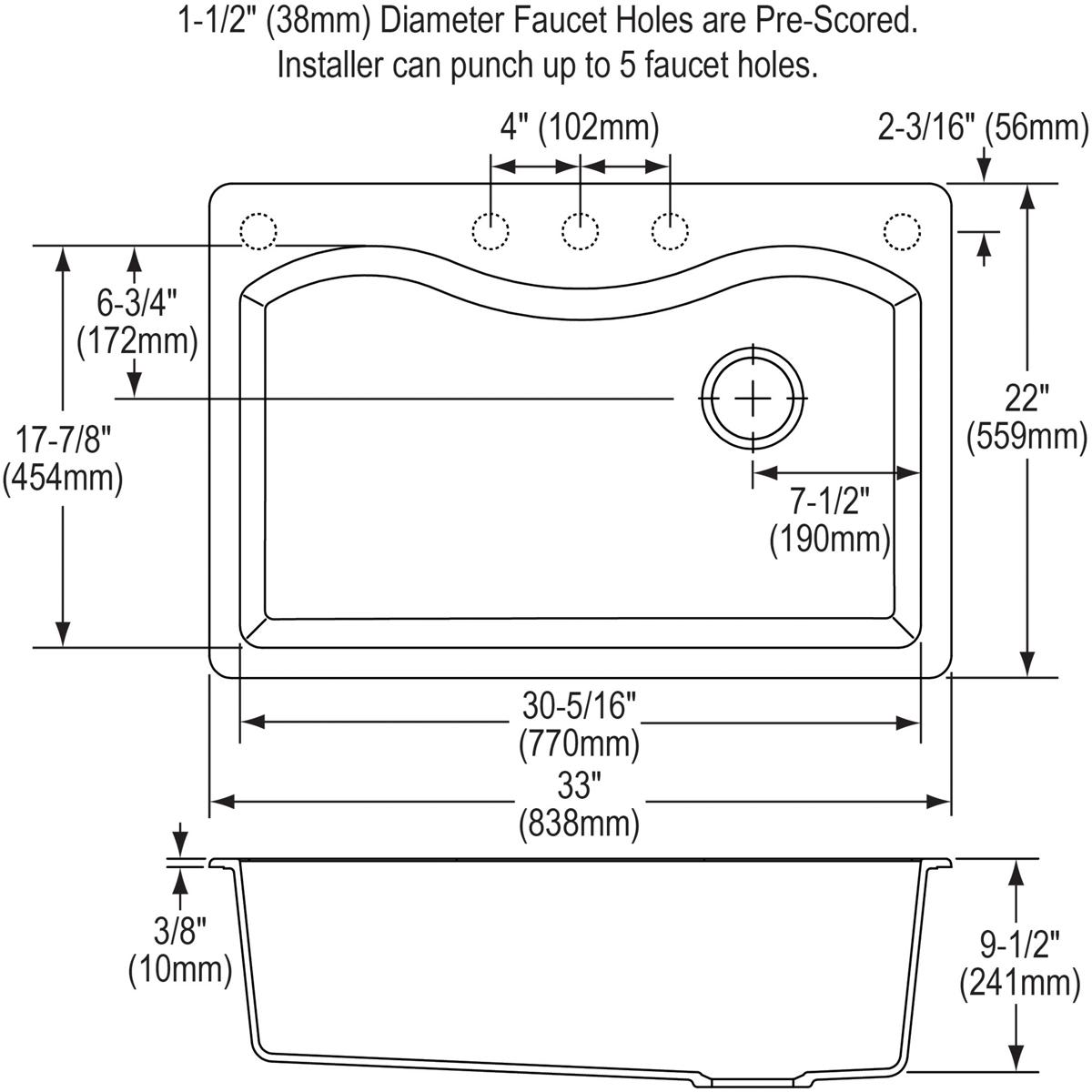 Elkay Elgs3322rbq0 Bisque Harmony 33 Single Basin Granite Composite Wiring Diagram Kitchen Sink For Drop In Installations With 5 Pre Scored Faucet Holes