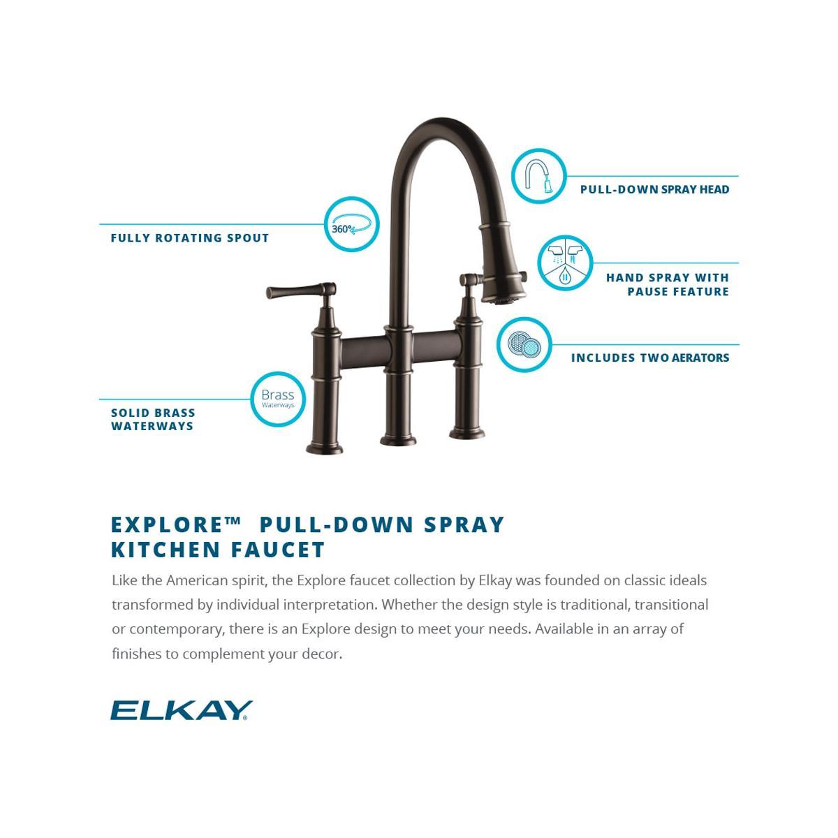 Elkay LKEC2037LS Lustrous Steel Explore Pullout Spray Double Handle ...