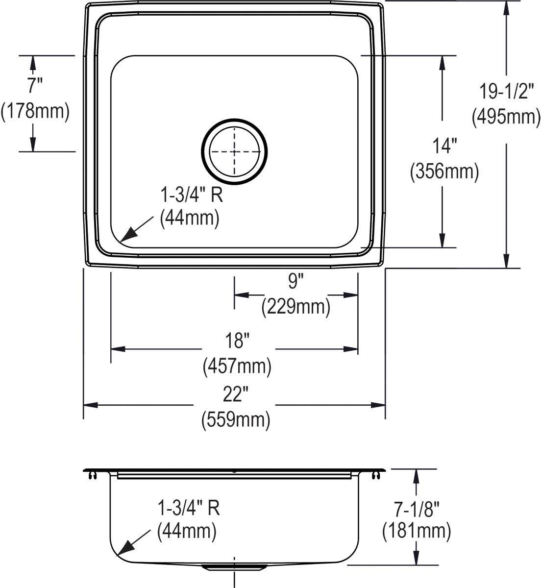 Elkay PSR22190 Sink Stainless steel