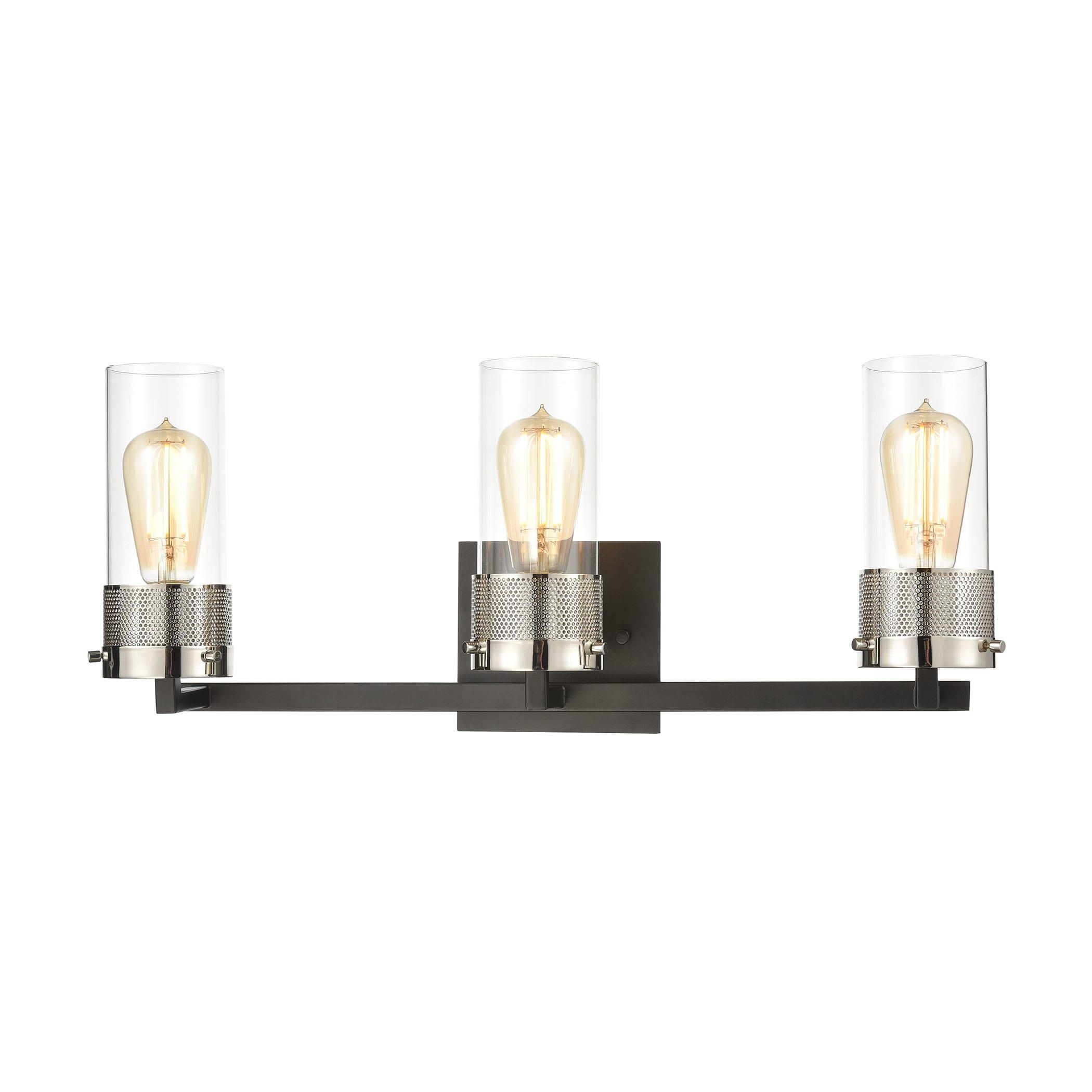 Image of: Elk Lighting 12142 3 Matte Black Polished Nickel Bergenline 3 Light 23 Wide Bathroom Vanity Light Lightingdirect Com
