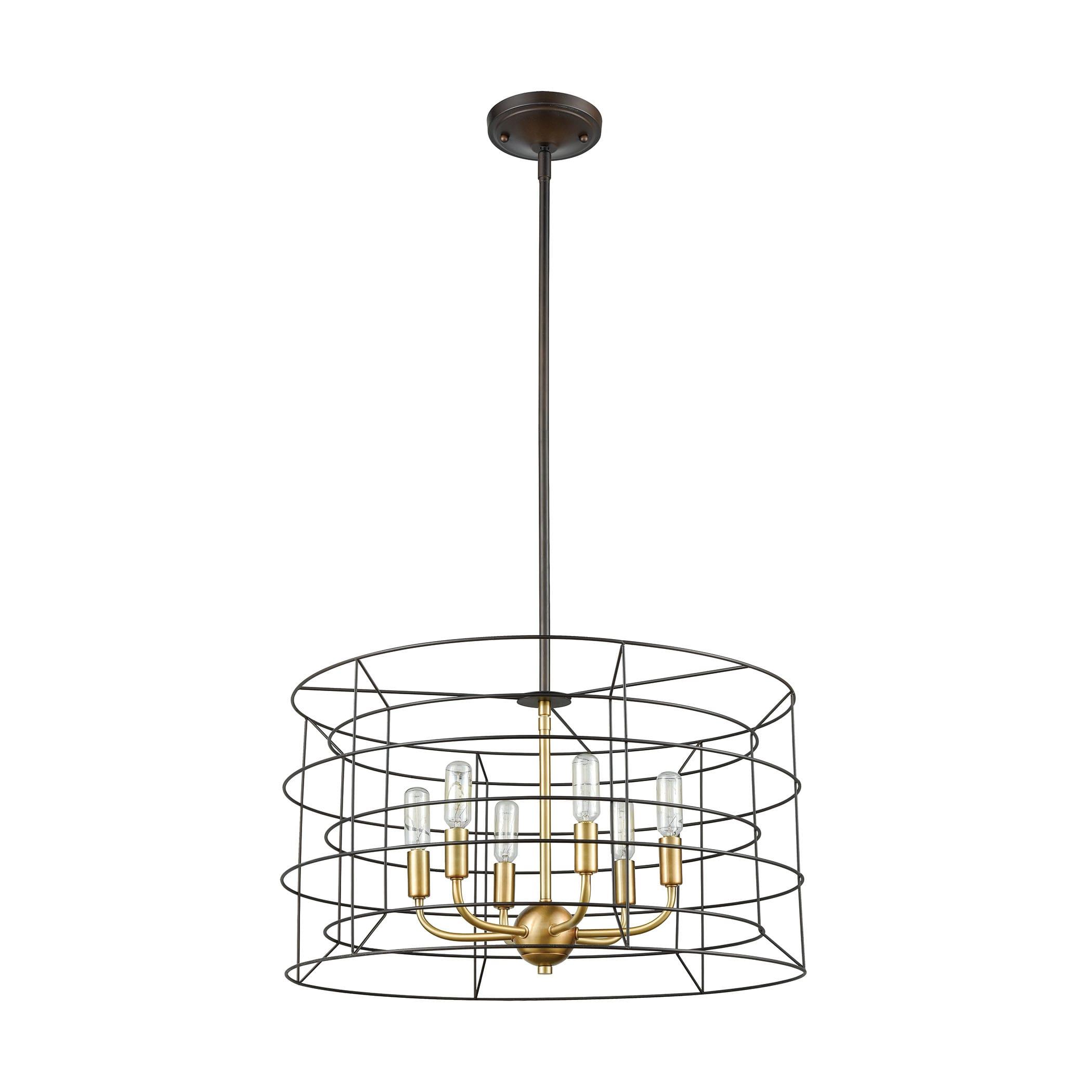 Image of: Elk Lighting 81386 6 Oil Rubbed Bronze Satin Brass Dayton 6 Light 22 Wide Drum Chandelier Lightingshowplace Com