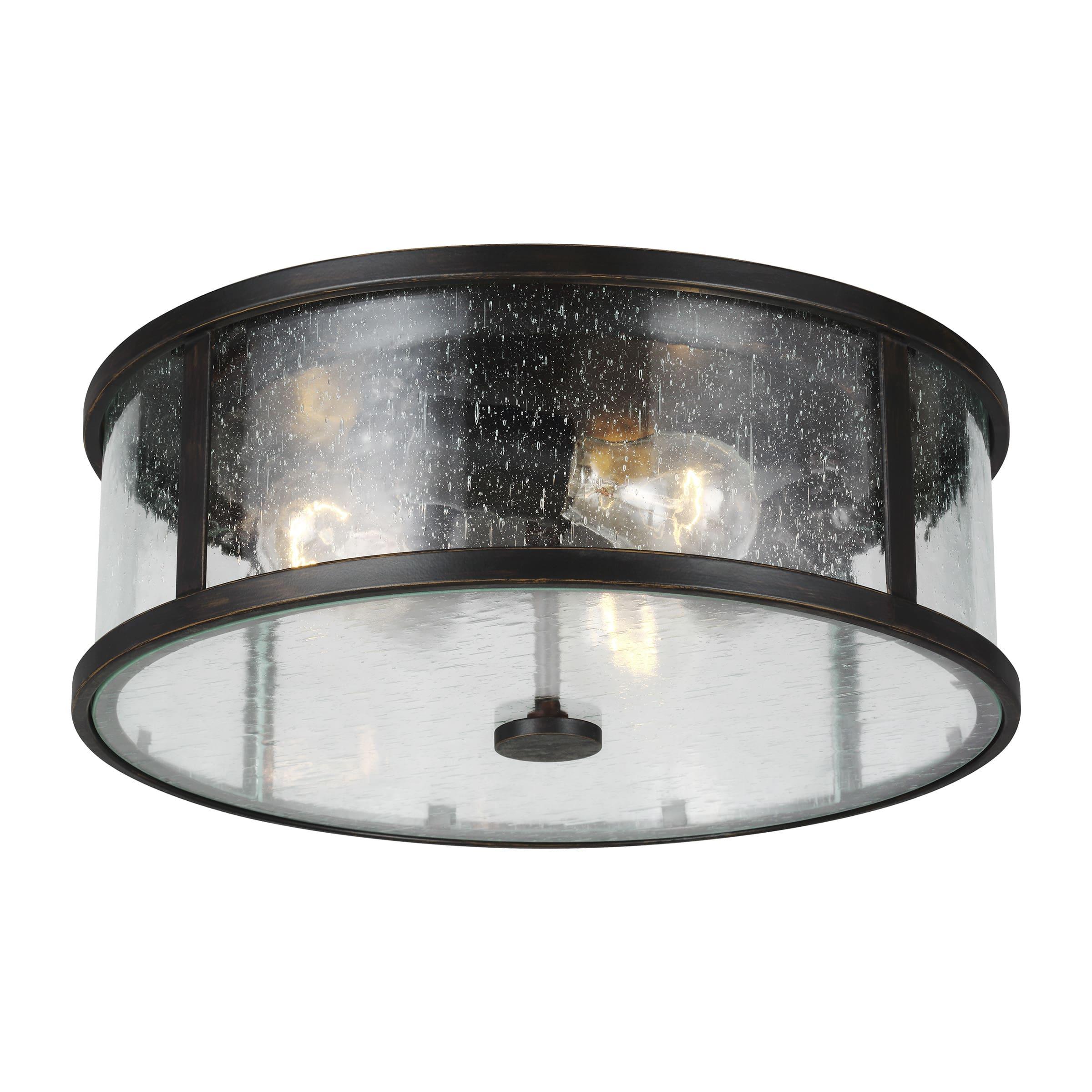 Feiss Ol7633es Espresso Dakota 3 Light 14 Wide Flush Mount Drum Ceiling Fixture With Clear Seeded Glass Shade Lightingdirect Com