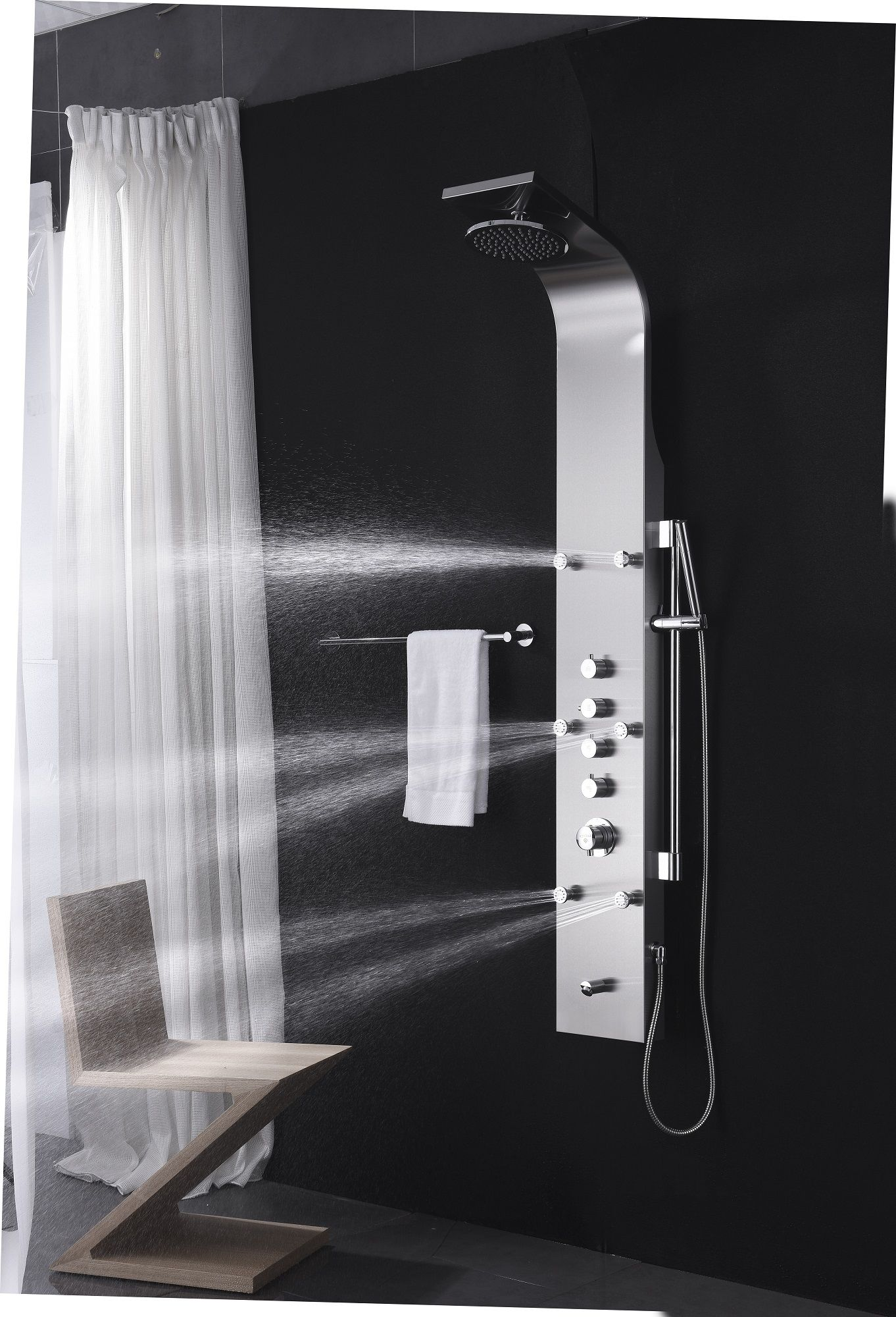 Fresca FSP8012BS Brushed Silver Palermo Five Handle Shower Panel ...