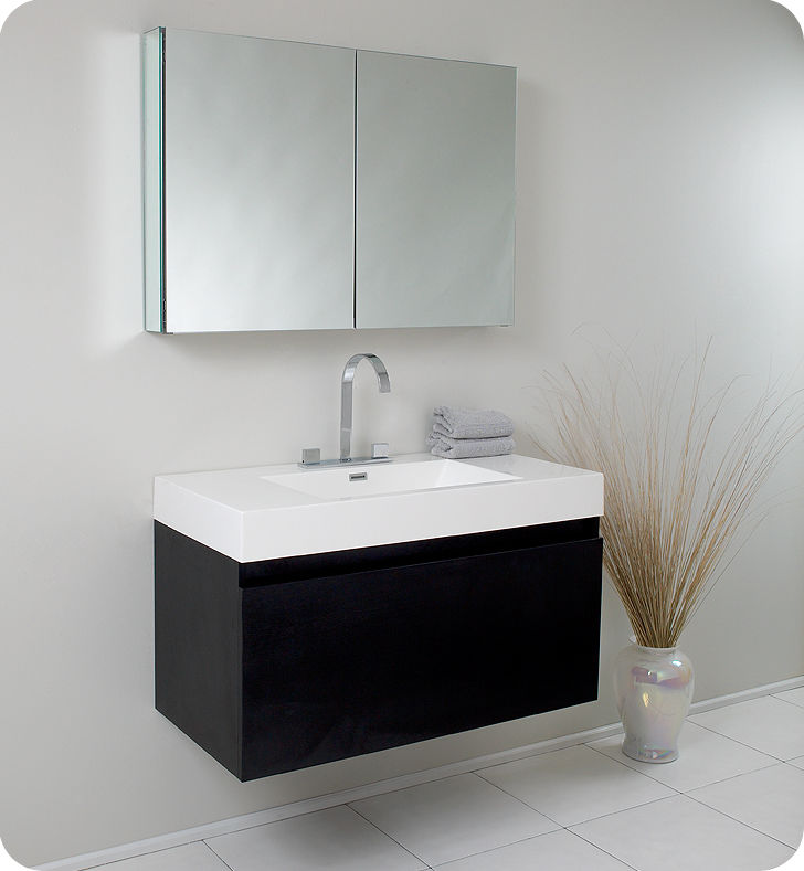 Fresca Fvn8010bw Black Mezzo 39 Wall Mounted Floating Mdf Vanity With Mirrored Medicine Cabinet Acrylic Sink Countertop P Trap Pop Up Drain And