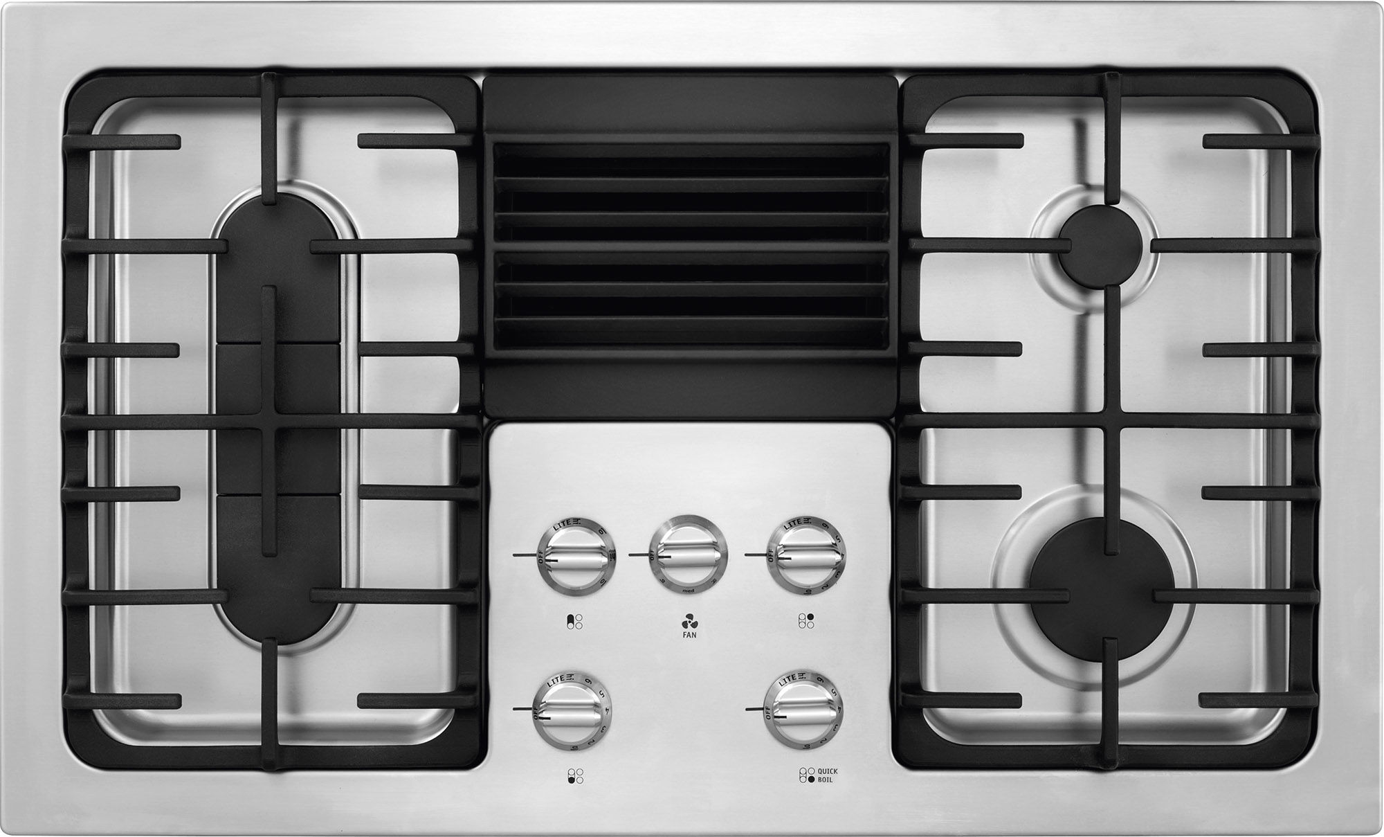 frigidaire rc36dg60ps stainless steel 36 inch 4 burner gas cooktop with builtin 500 cfm downdraft exhaust controls and continuous grates