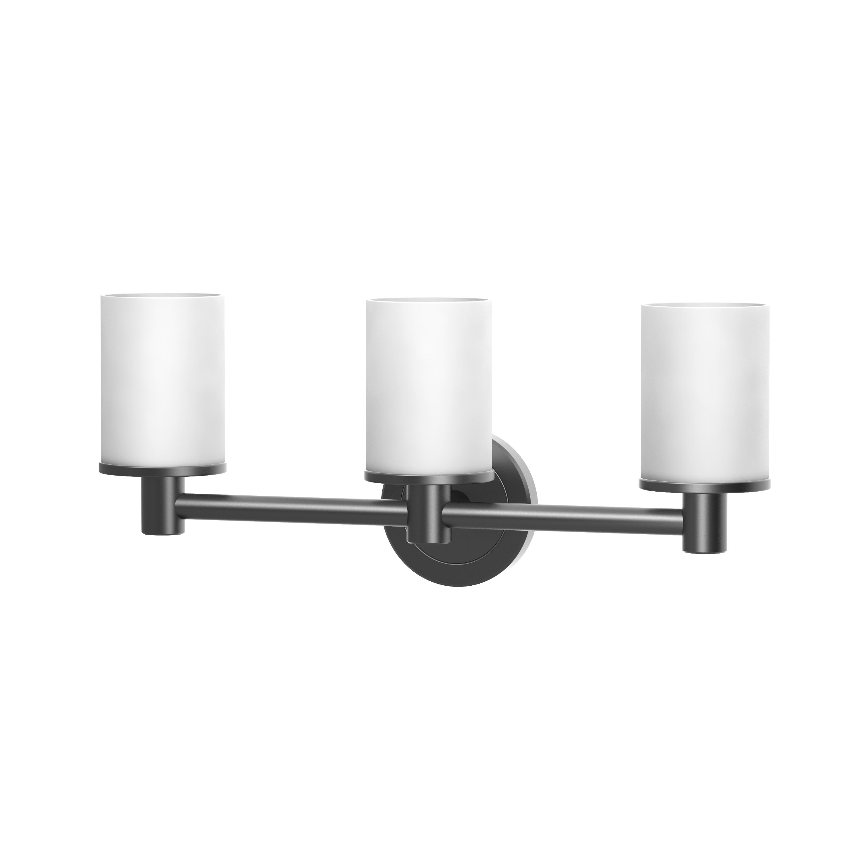 Image of: Gatco 1686mx Matte Black Latitude 2 3 Light 19 5 8 Wide Bathroom Vanity Light With Frosted Shades Ada Compliant Faucet Com