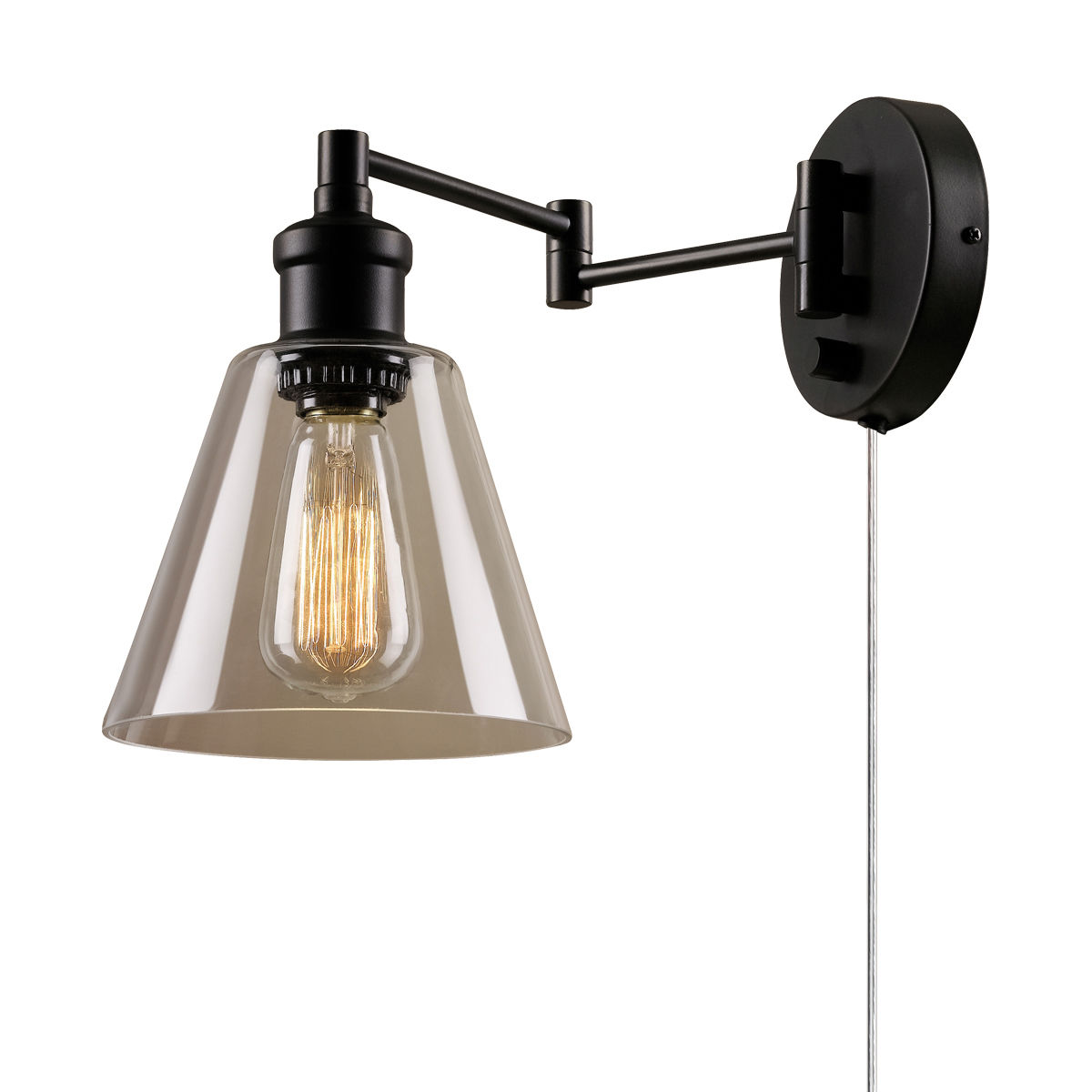 LeClair Single Light Swing Arm Wall Sconce With Clear Glass Shade And Canopy On Off