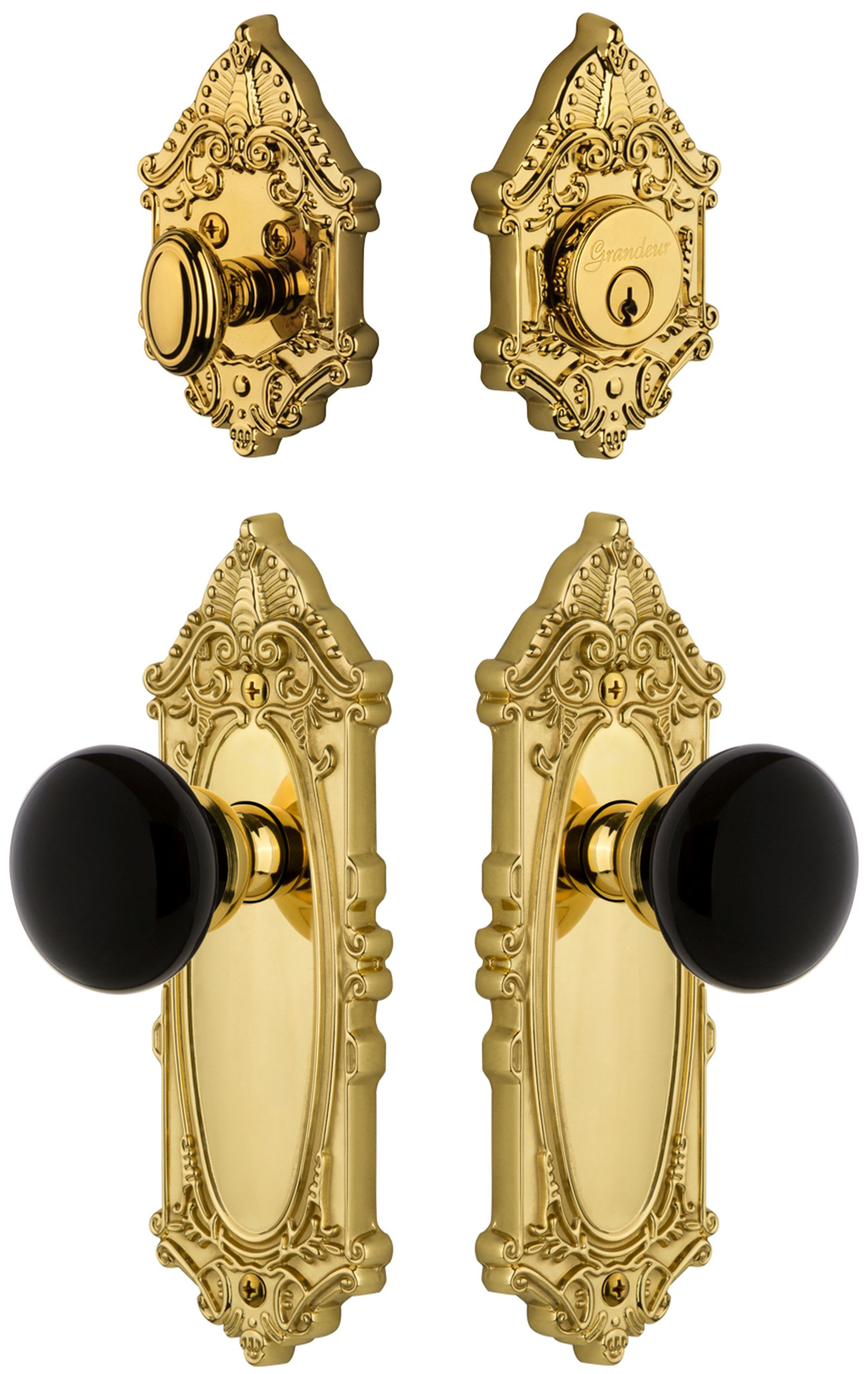 Grandeur 853420 Polished Nickel Grande Victorian Solid Brass Rose Single Cylinder Keyed Entry Deadbolt And Knobset Combo Pack With Coventry Knob And 2 3 8 Backset Handlesets Com